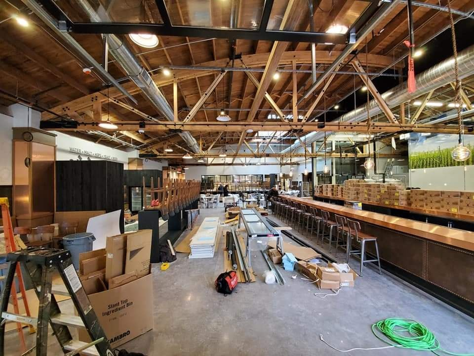 Inside during construction at Lock and Mule in Lockport, IL
