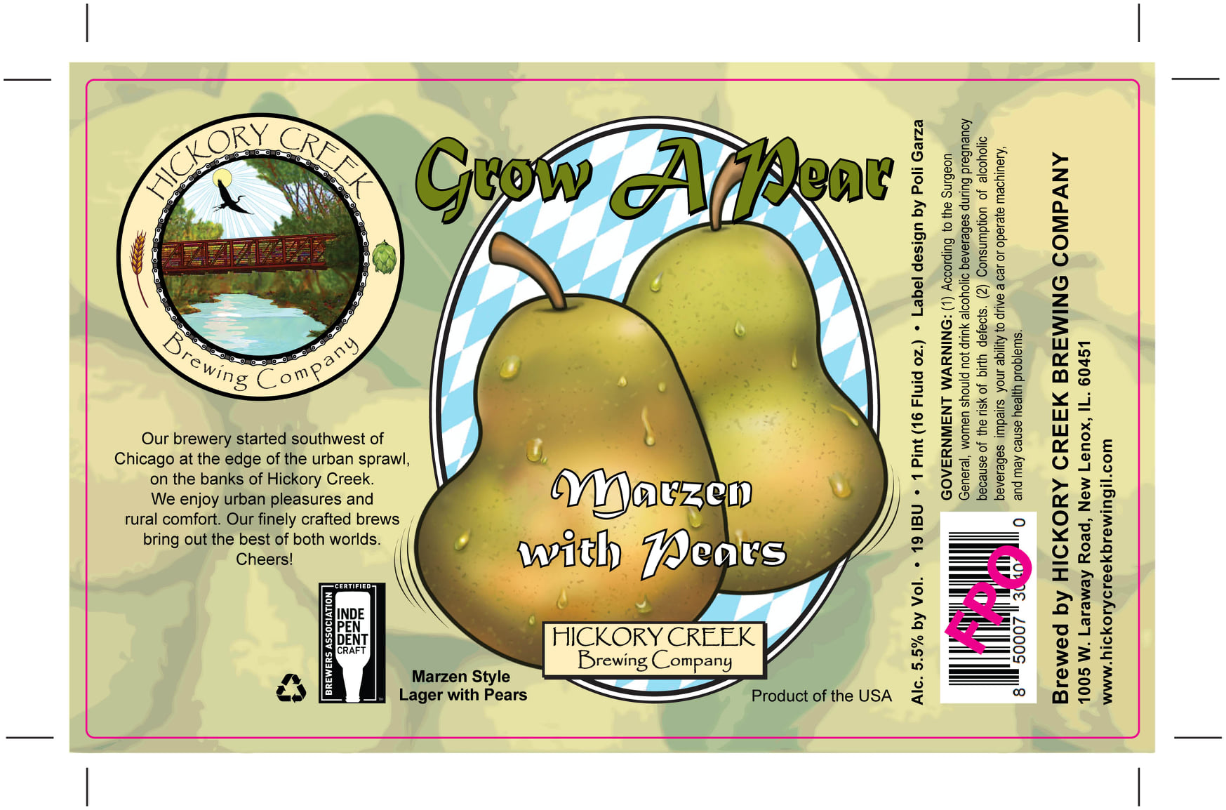 Label for Hickory Creek's Grow a Pear