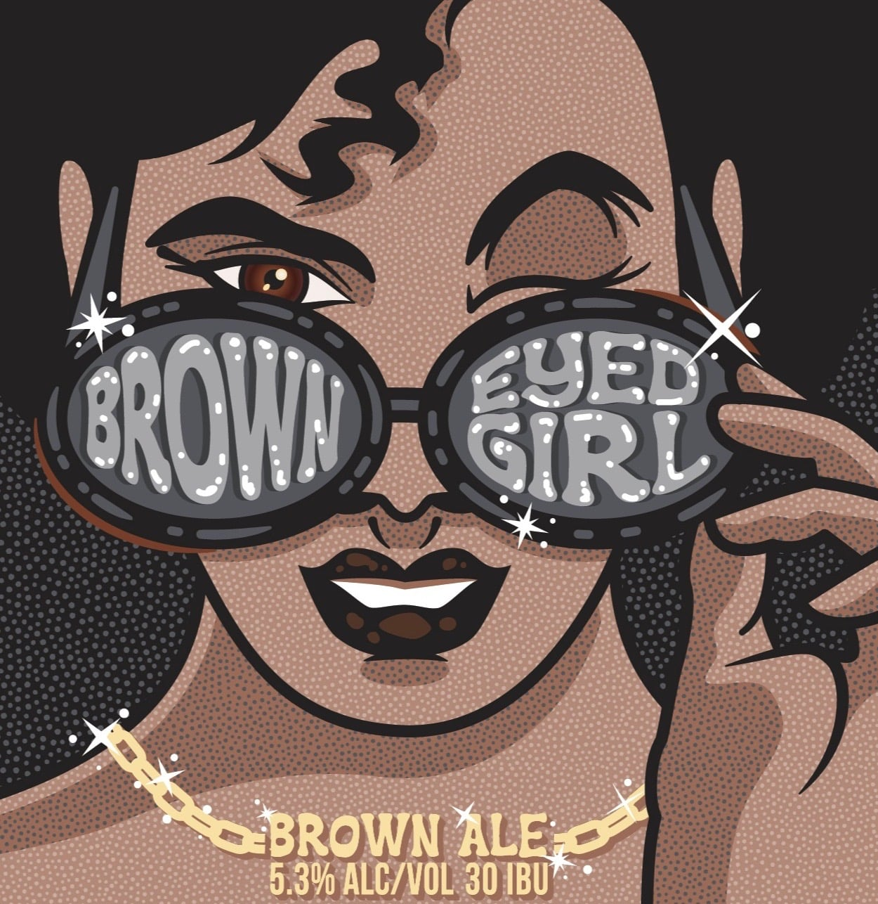 Label artwork for Brown Eyed Girl from Garage Band Brewing