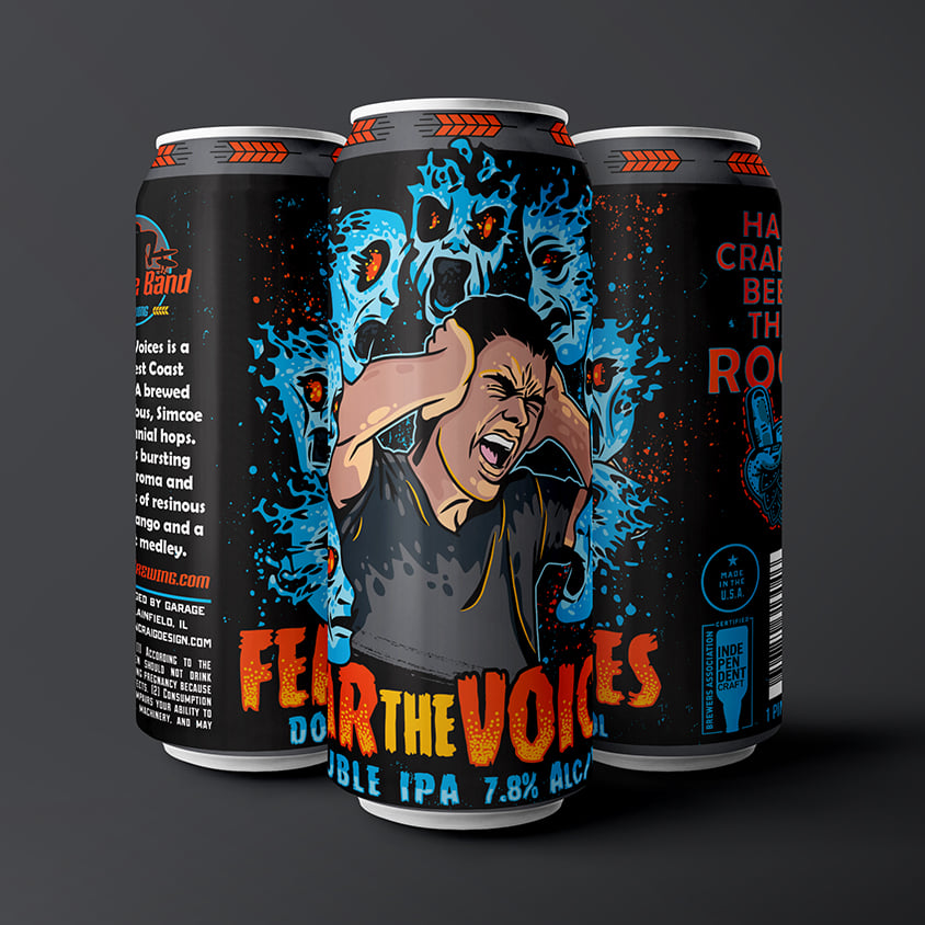Three cans of Fear the Voices from Garage Band Brewing