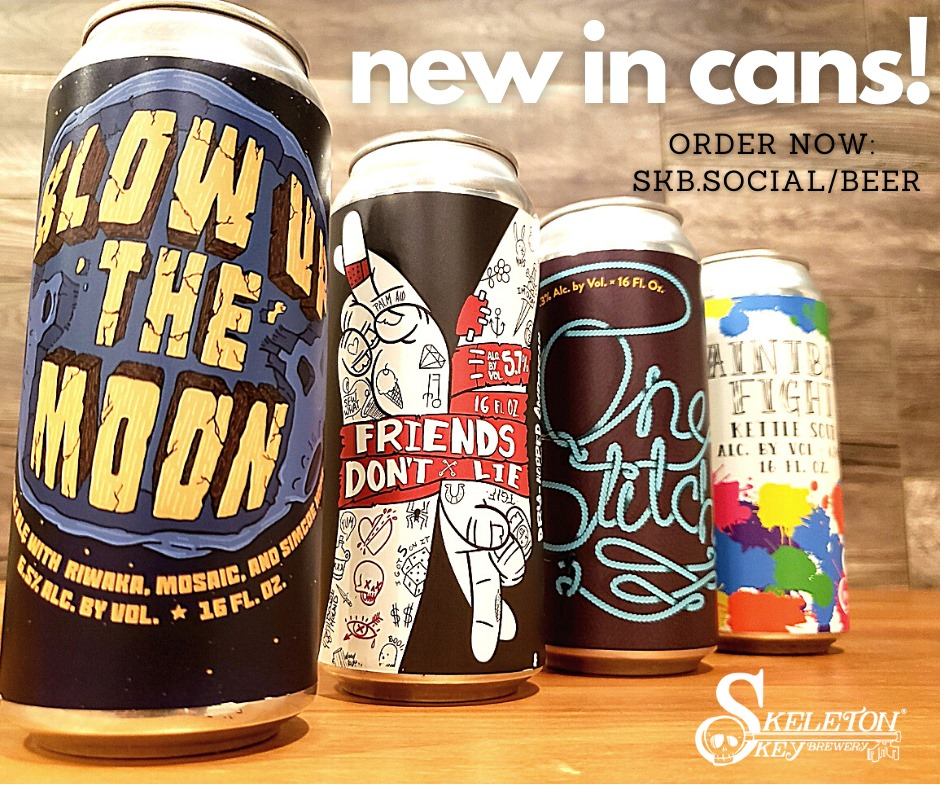 Four different cans from Skeleton Key brewing