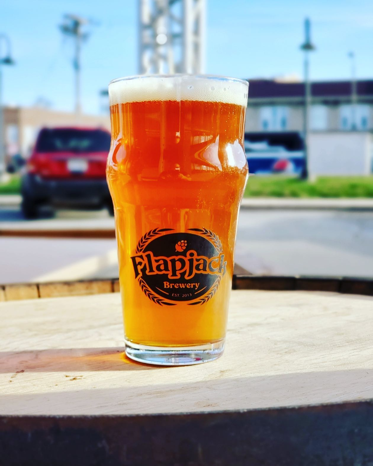 A glass of SchmuckJack IPA from Flapjack Brewery