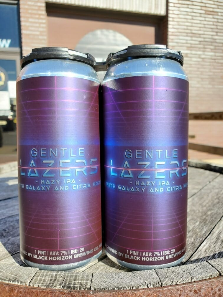 Cans of Gentle Lazers from Black Horizon Brewing Comapny
