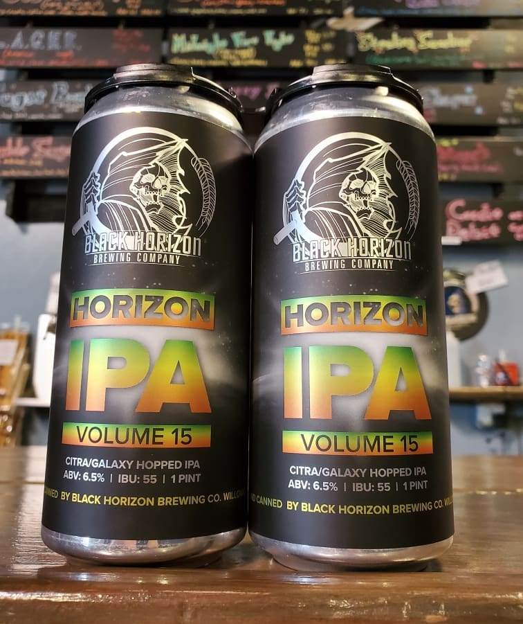 Two cans of Horizon IPA, Volume 15 from Black Horizon Brewing