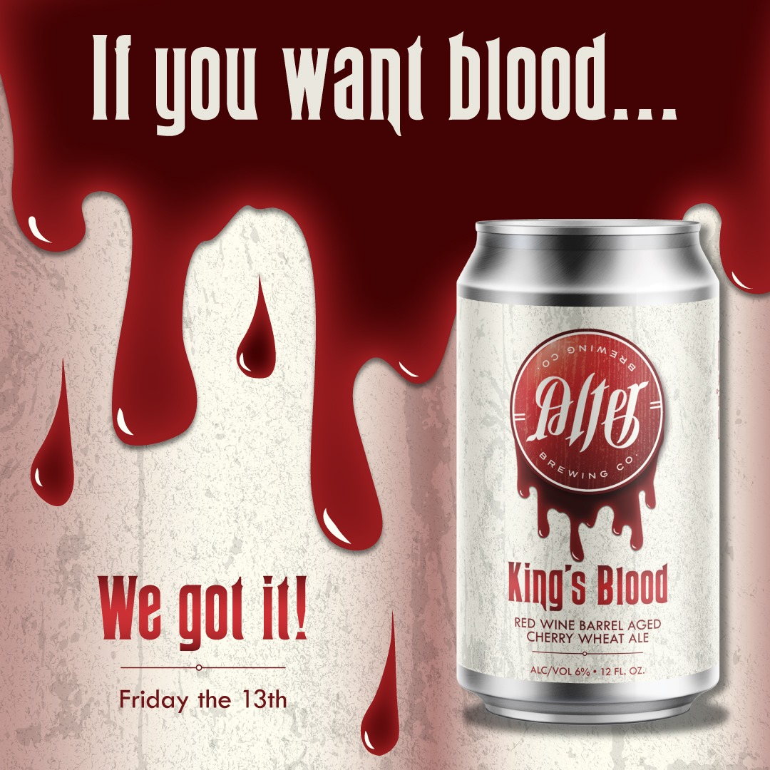Graphic for Alter Brewing Company's Kings Blood (featuring a can of the beer)