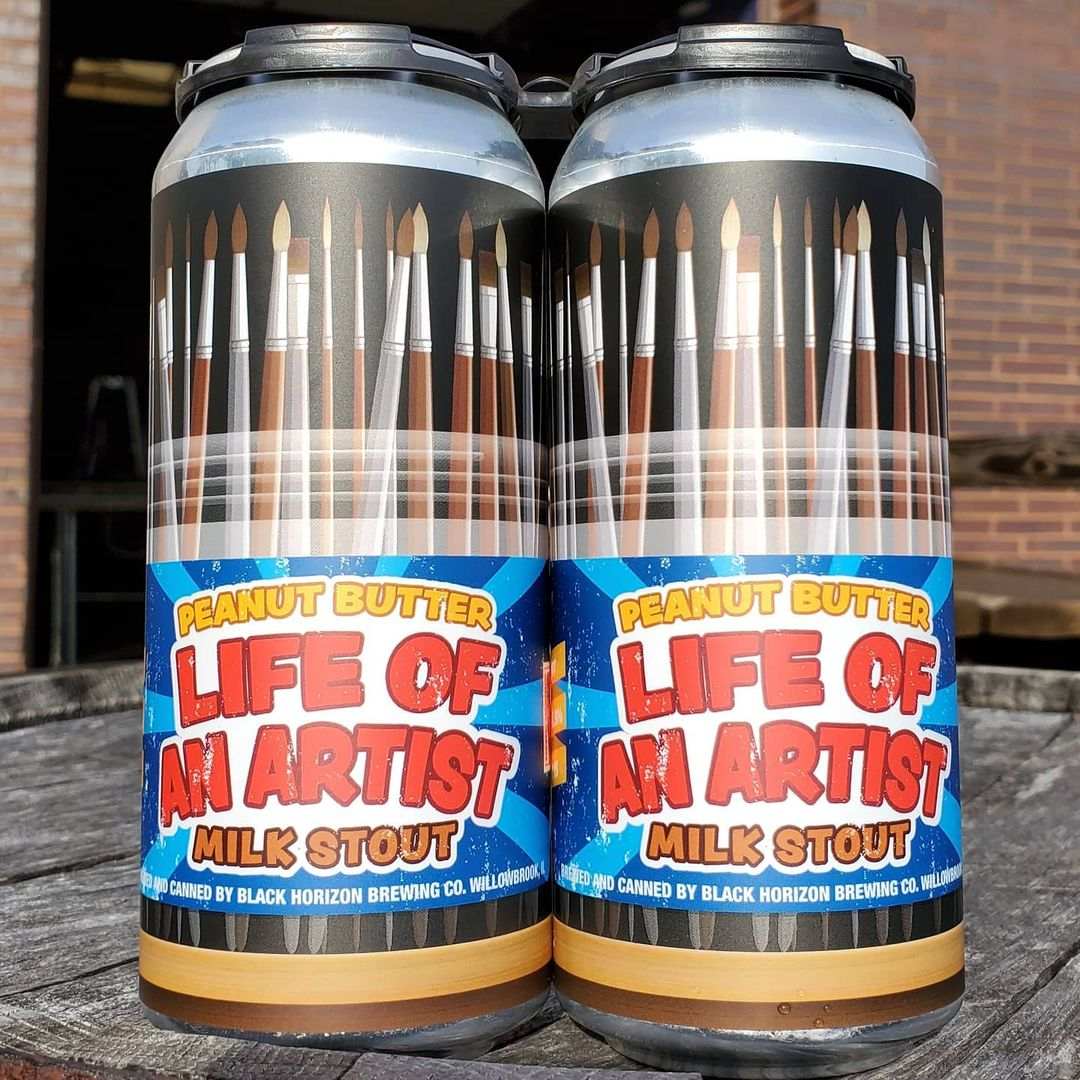 Two cans of Life of an Artist - peanut butter milk stout by Black Horizon Brewing