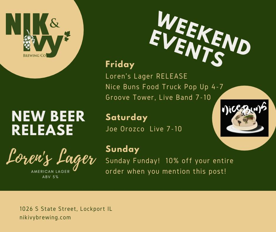 Graphic of Nik & Ivy's weekend events