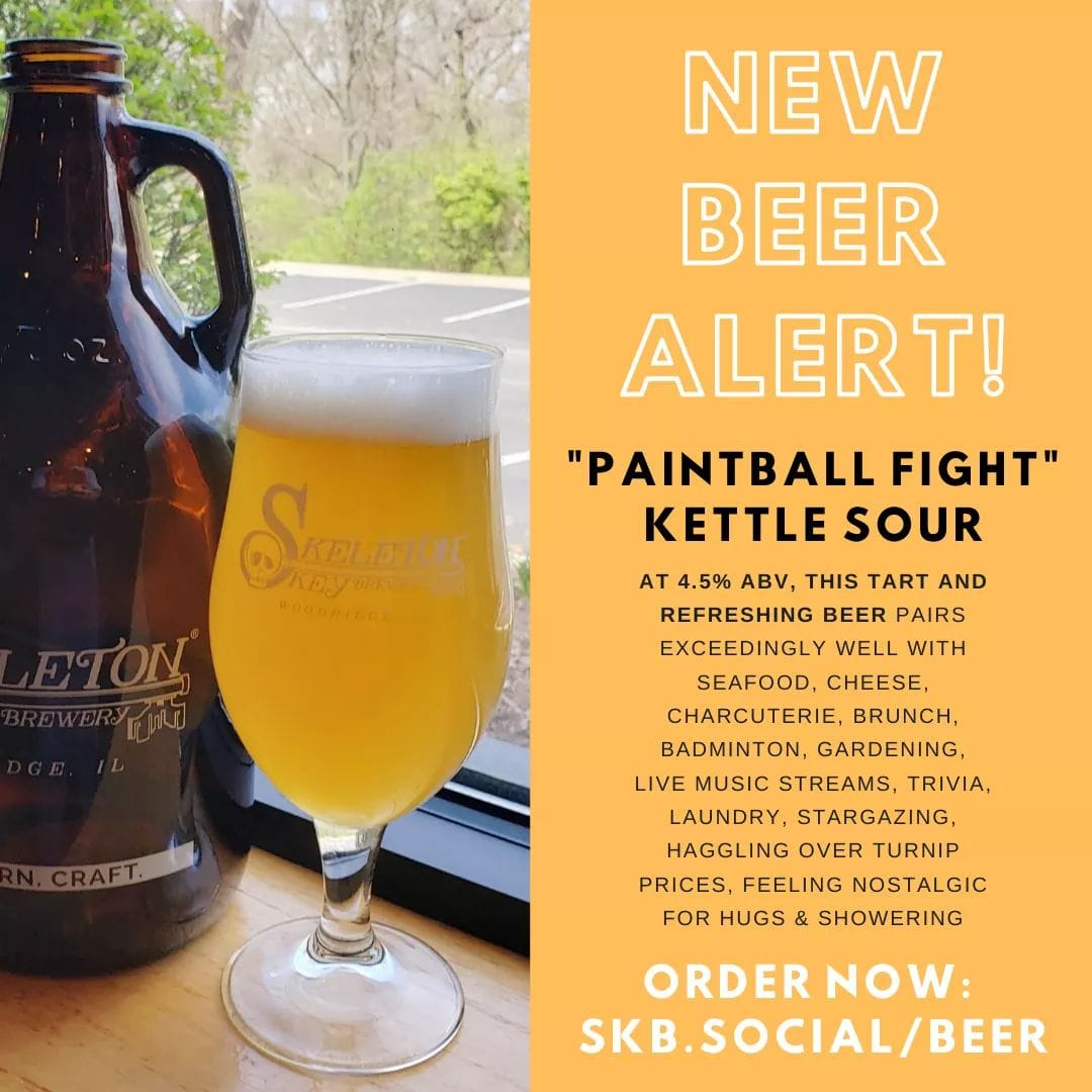 Glass and Growler of Paintball Fight Kettle Sour from Skeleton Key Brewery