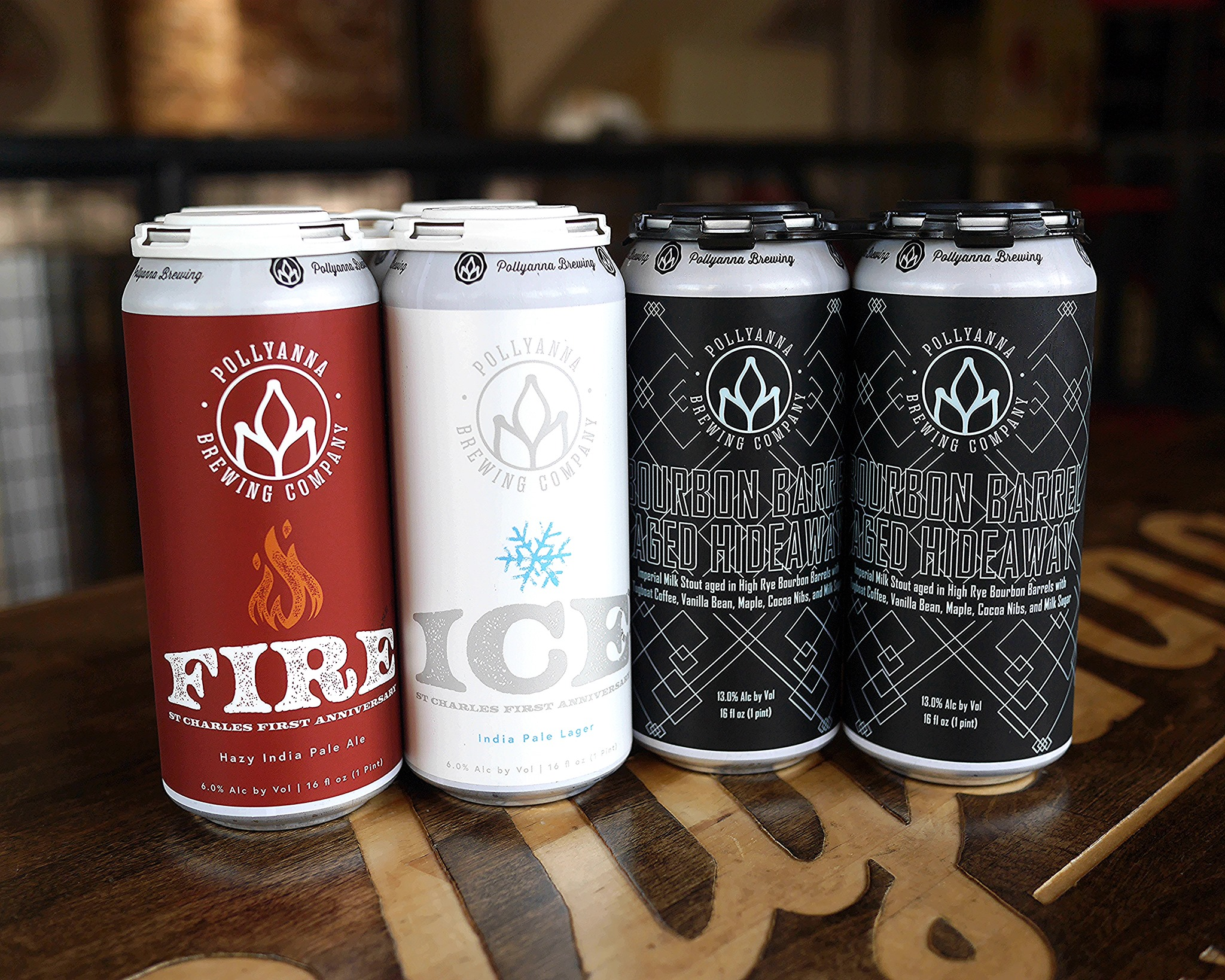 6 cans from Pollyanna Brewing (two of Fire, two of Ice, and two of Bourbon Barrel Aged Hideaway)