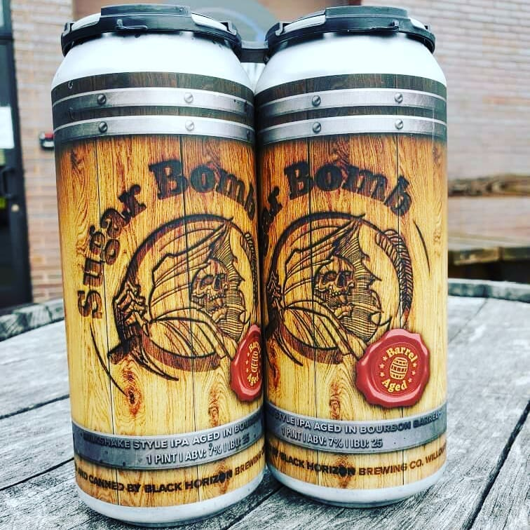 Cans of Barrel-Aged Sugar Bomb from Black Horizon Brewing Company