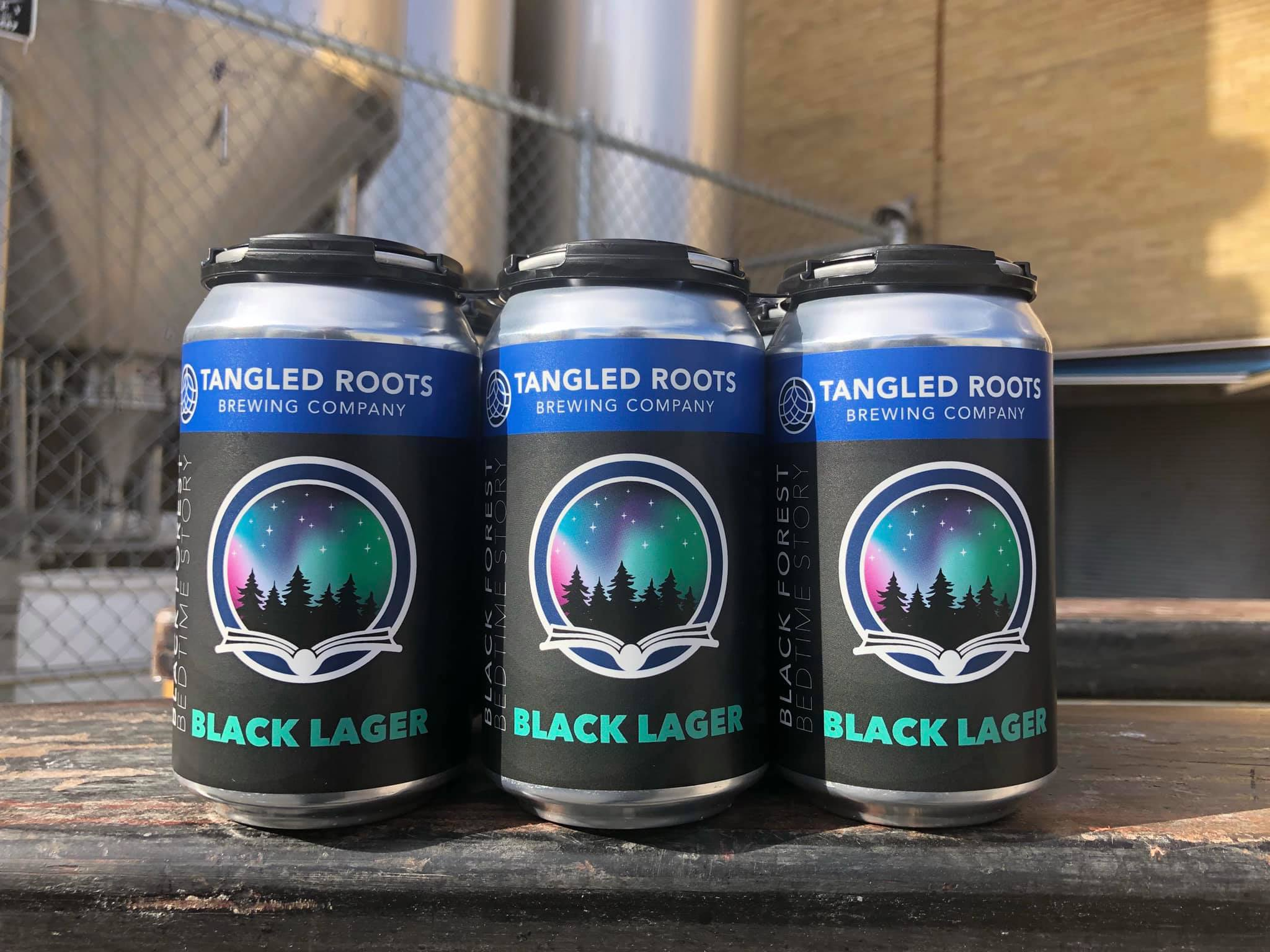 Cans of Black Forest Bedtime Story Black Lager from Tangled Roots Brewing Company