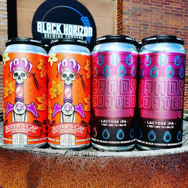 Four cans from Black Horizon Brewing Company
