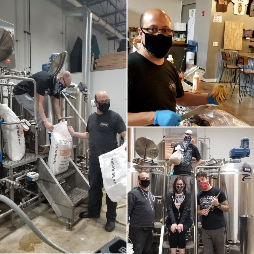 Three pictures from the brewing of Break the Wheel by Skeleton Key Brewery