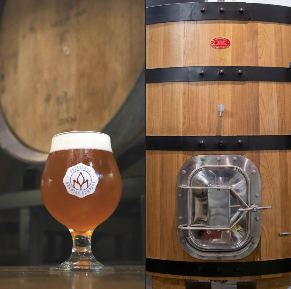 LEFT - Beer in glass, with foudre in background. RIGHT - Foudre.  From Pollyanna Brewing Company