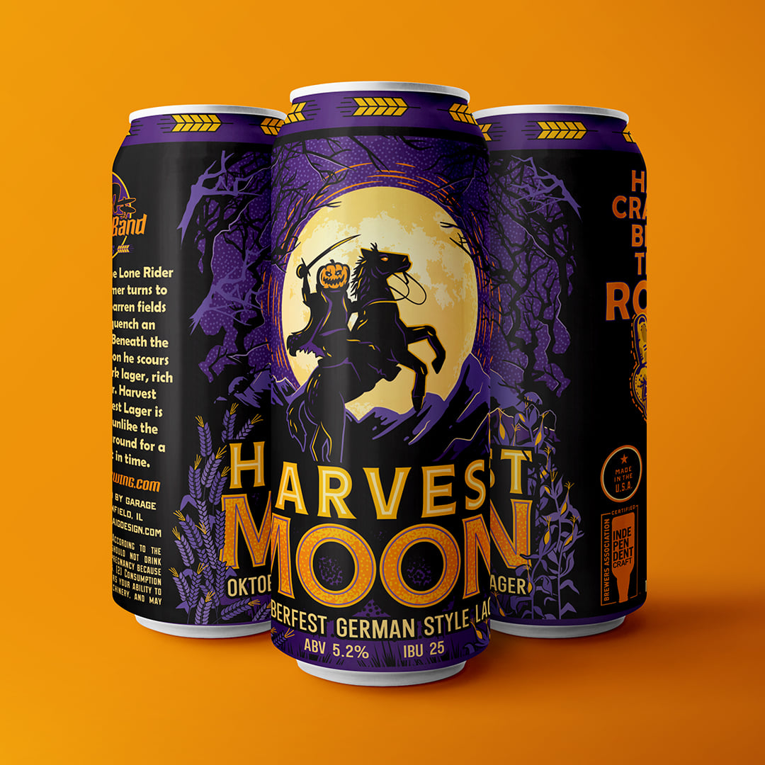 Three cans of Harvest Moon by Garage Band Brewing in Plainfield