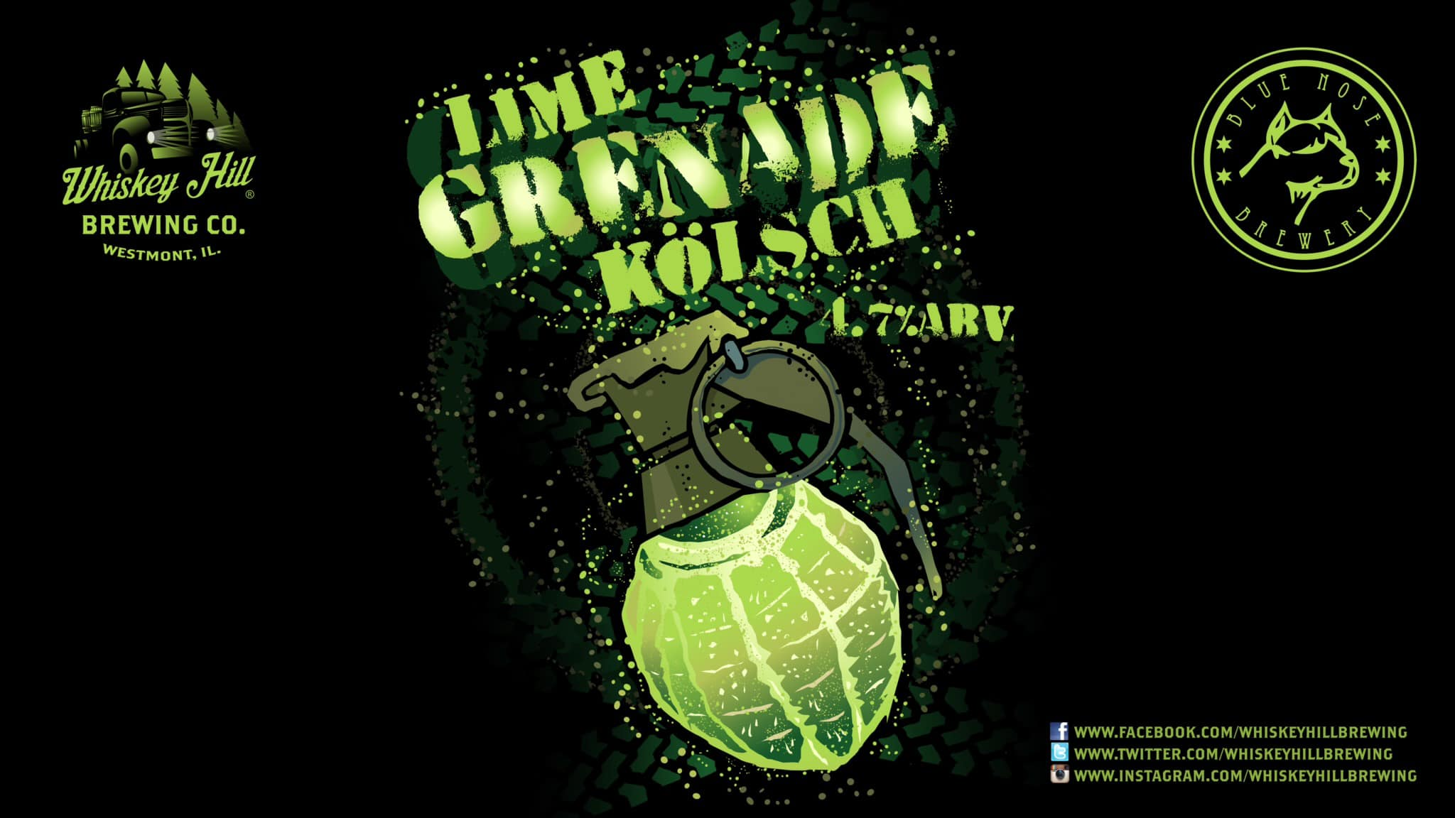 Label for Lime Grenade Kolsh from Whiskey Hill and Blue Nose