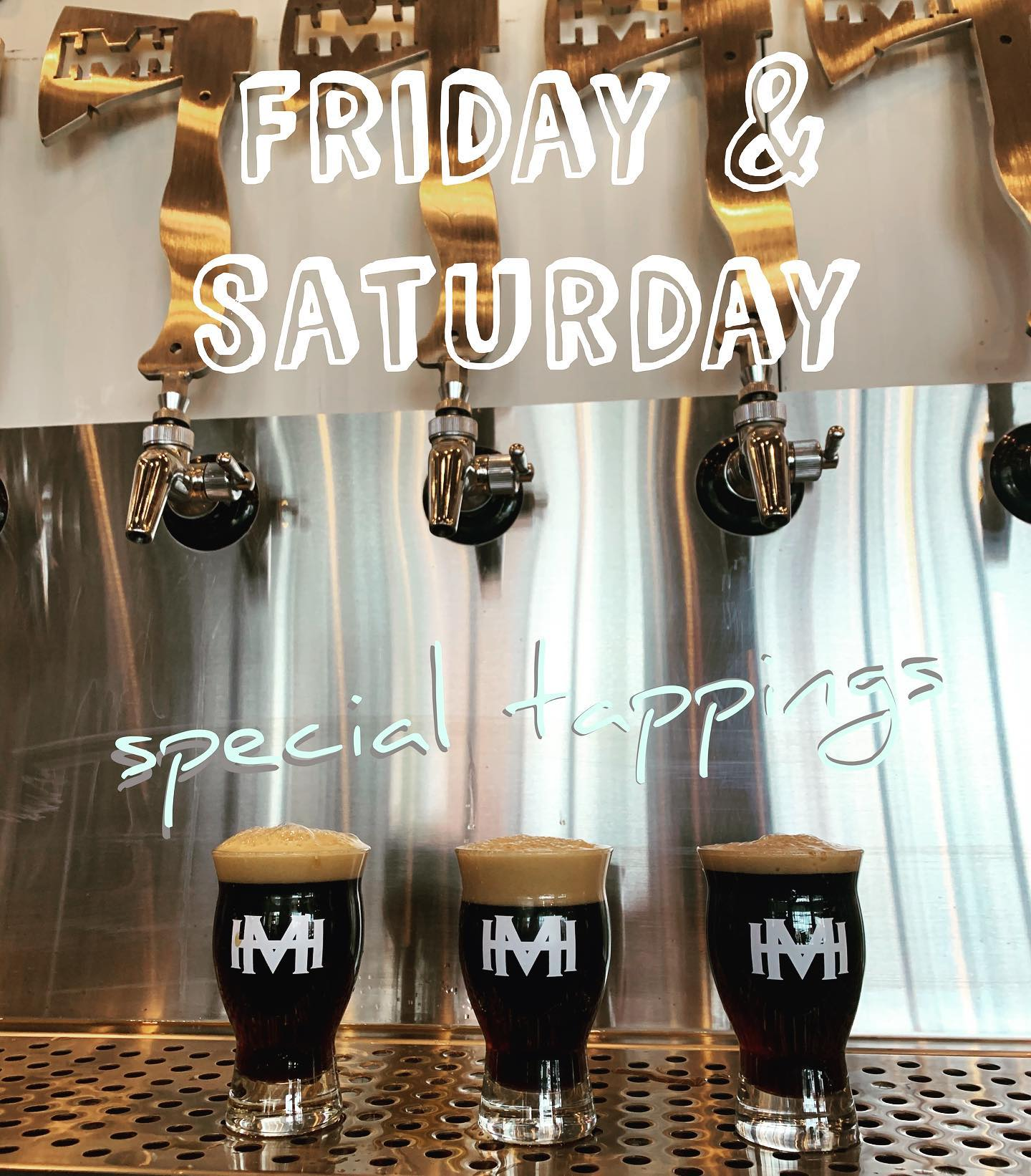 three beers under the taps at Mad Hatchet Brewing