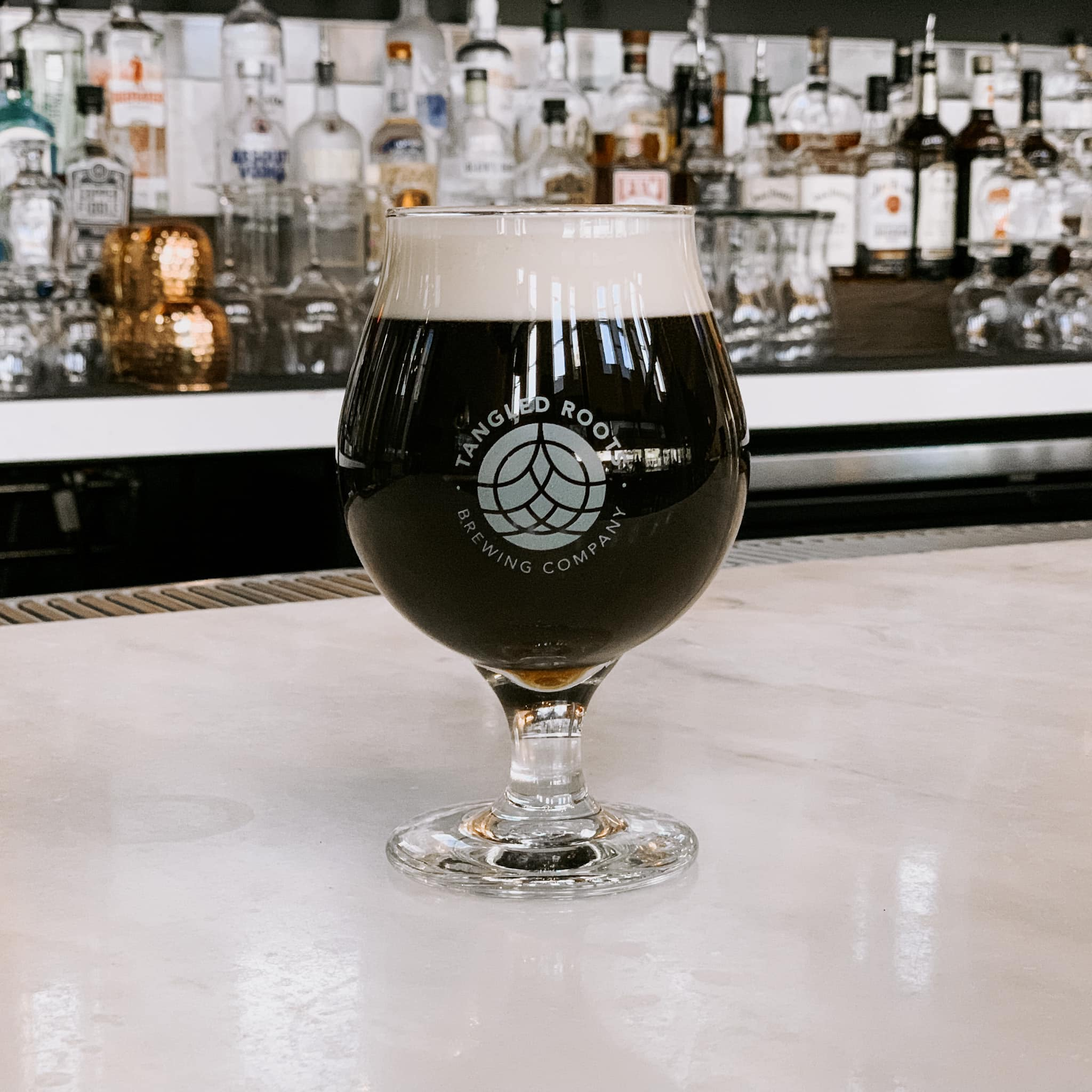 Tangled Roots Brewing Co's Mixed Berry Stout in a glass on their bar