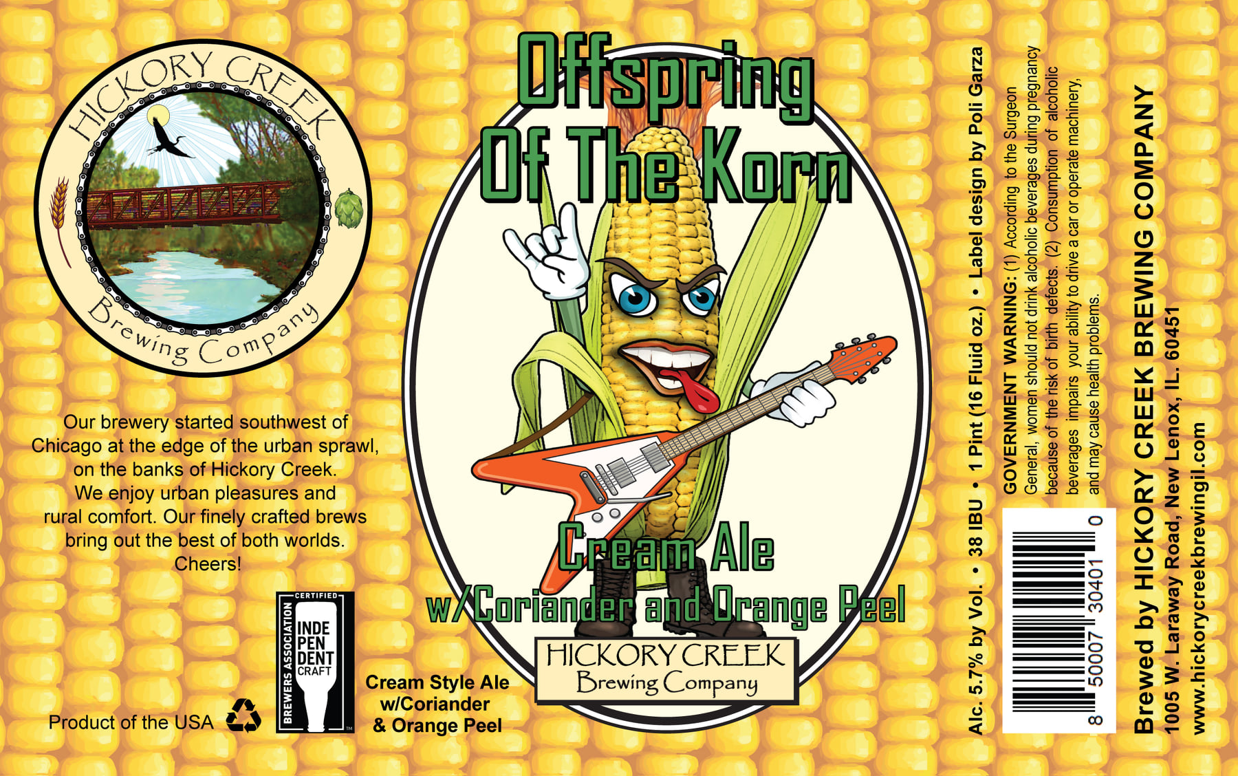 Hickory Creek Brewing Company's beer label for Offspring of the Korn