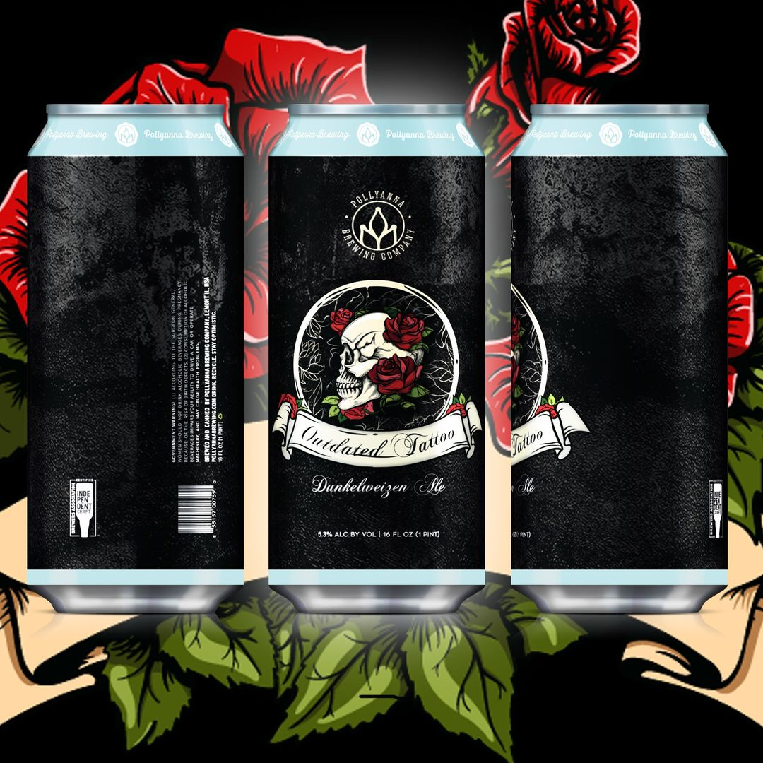 three cans of Pollyanna Brewing Company's Outdated Tattoo
