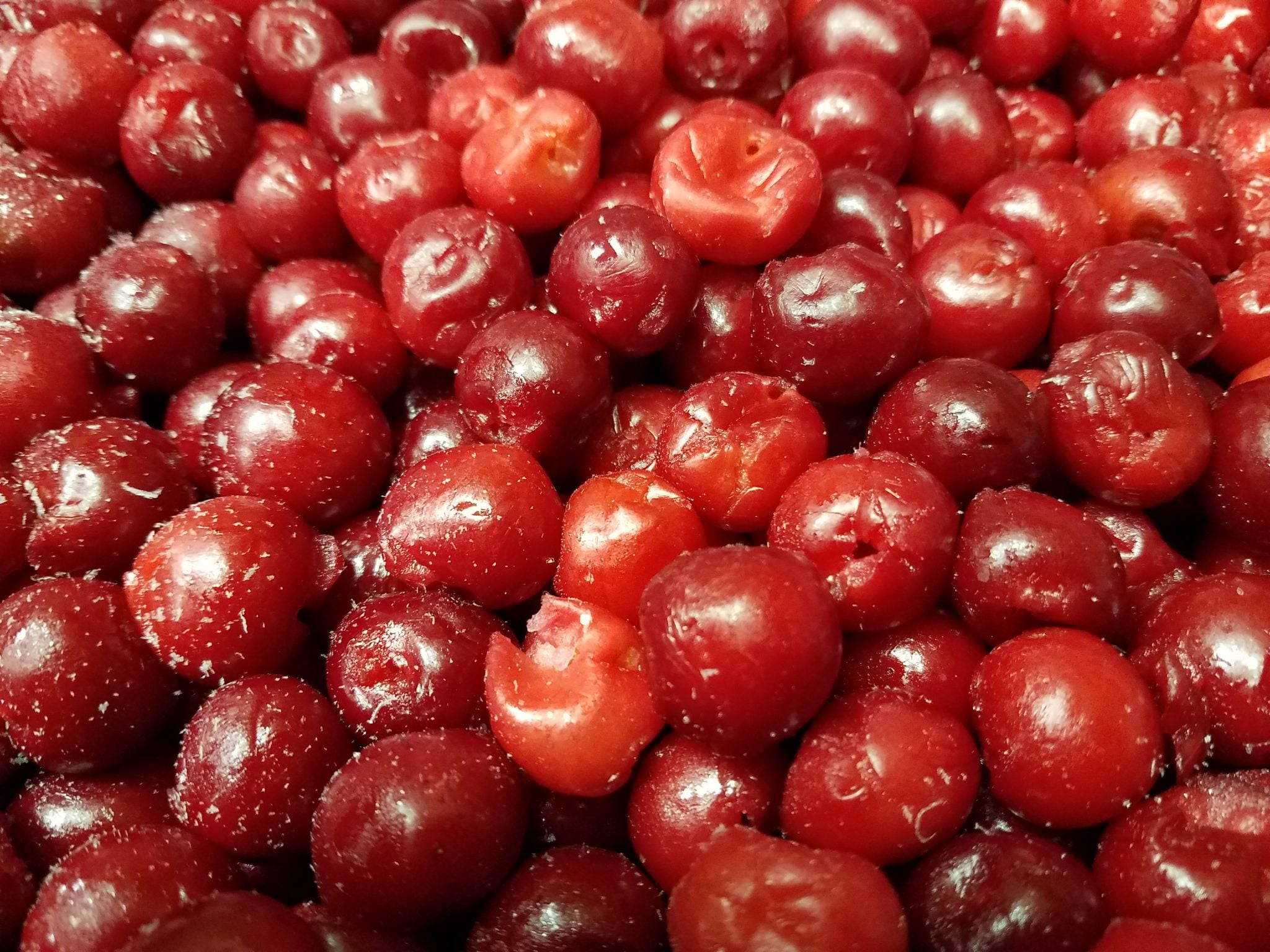 Pile of sour cherries