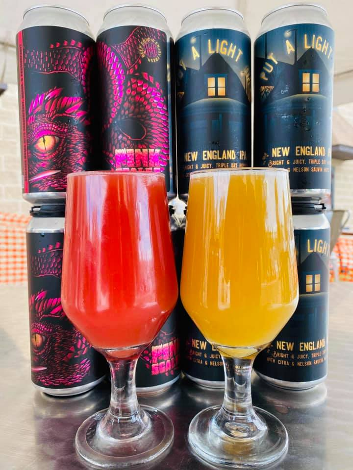 four cans form Whiskey Hill Brewing (Pink Scales and Put a Light On)