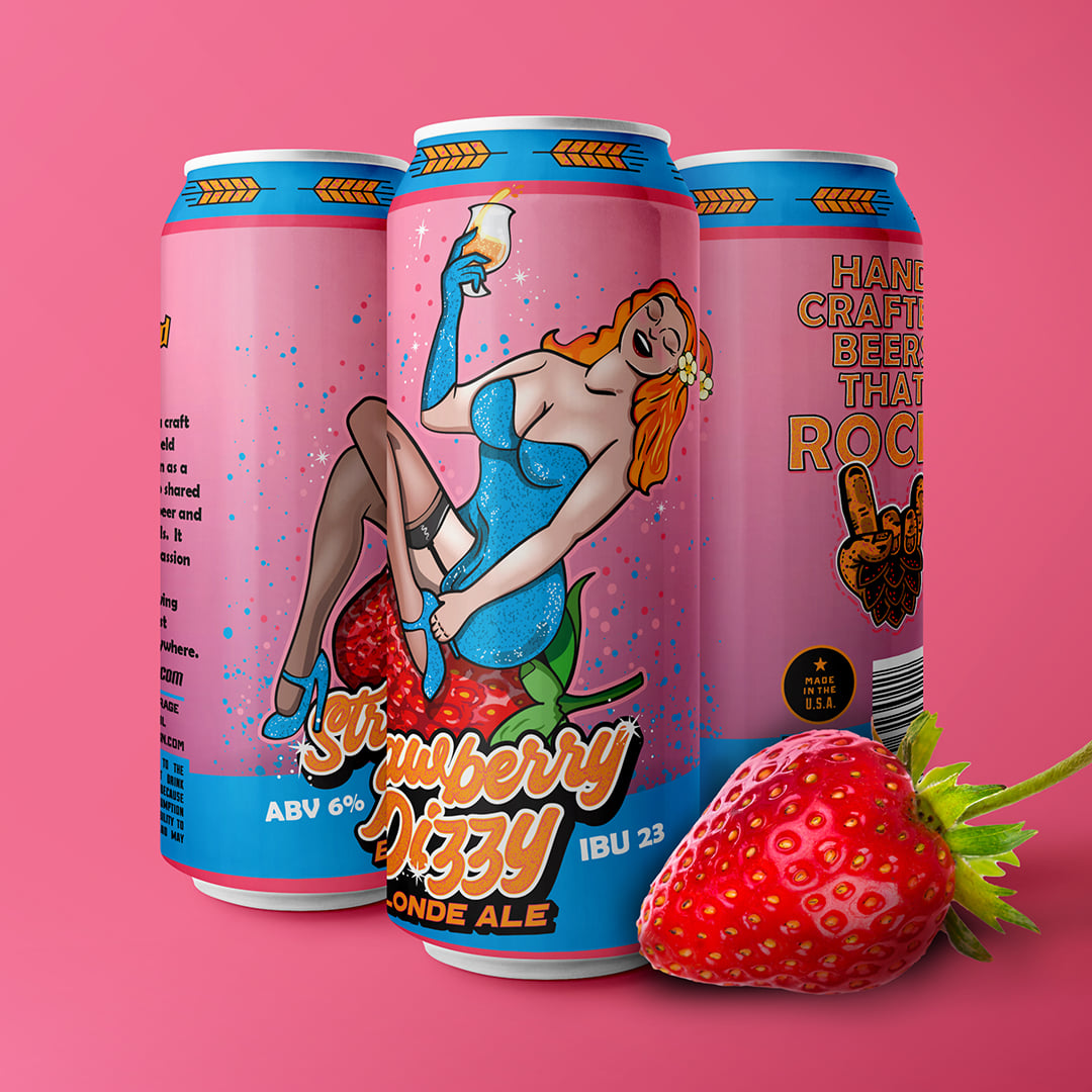 Three cans of Strawberry Dizzy by Garage Band Brewing, next to a strawberry.