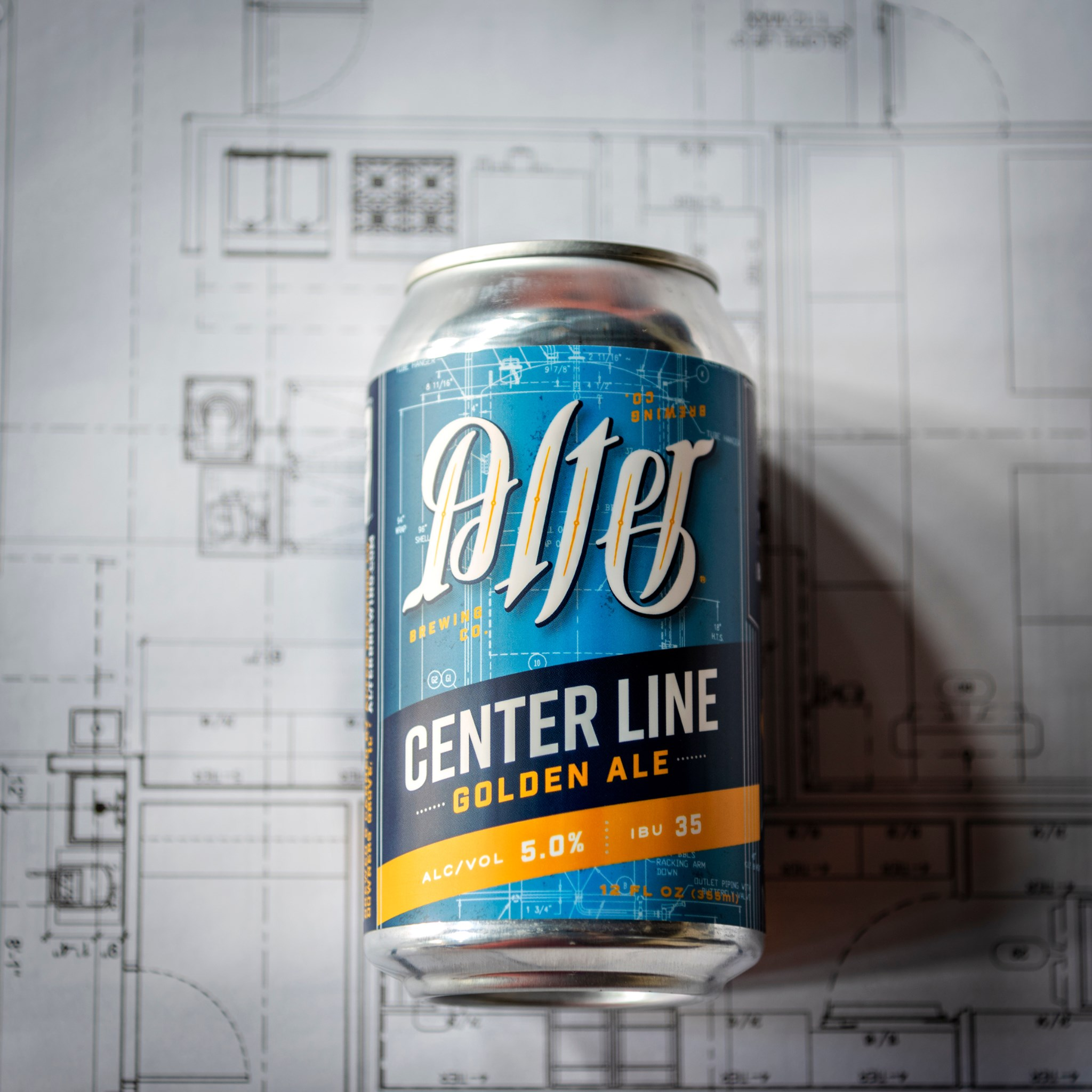 Can of Alter's Center Line on top of architectural schematics