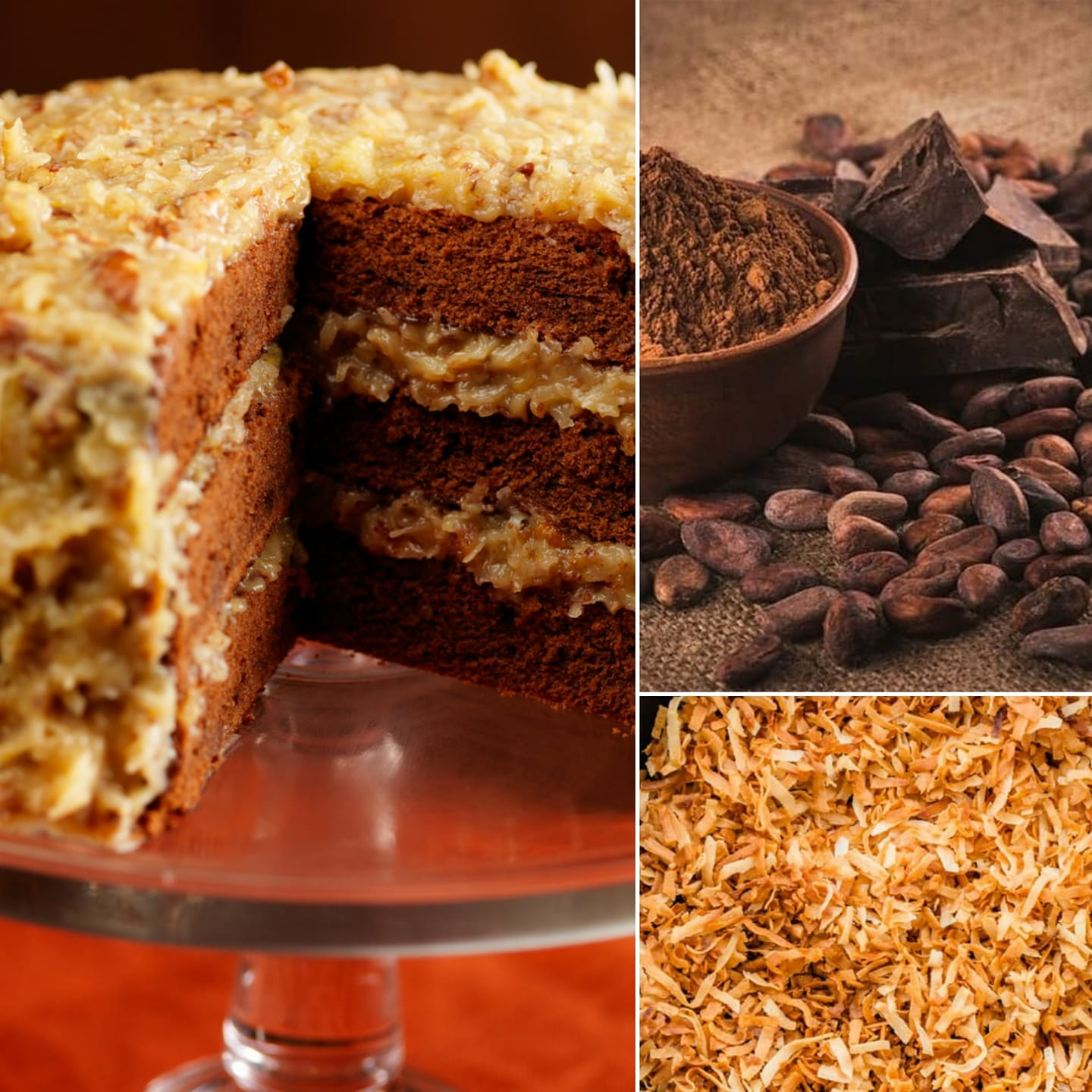 Three photos - German chocolate cake, cocoa, and toasted coconut.