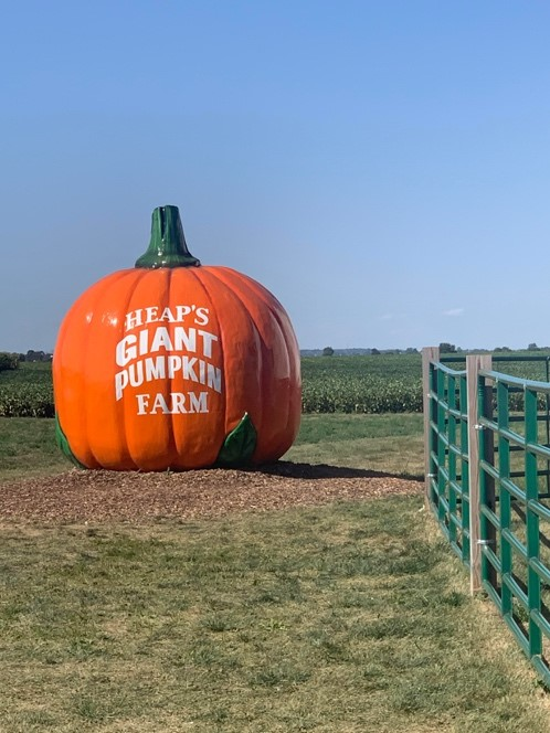 Giant sign shaped as a pumpkin