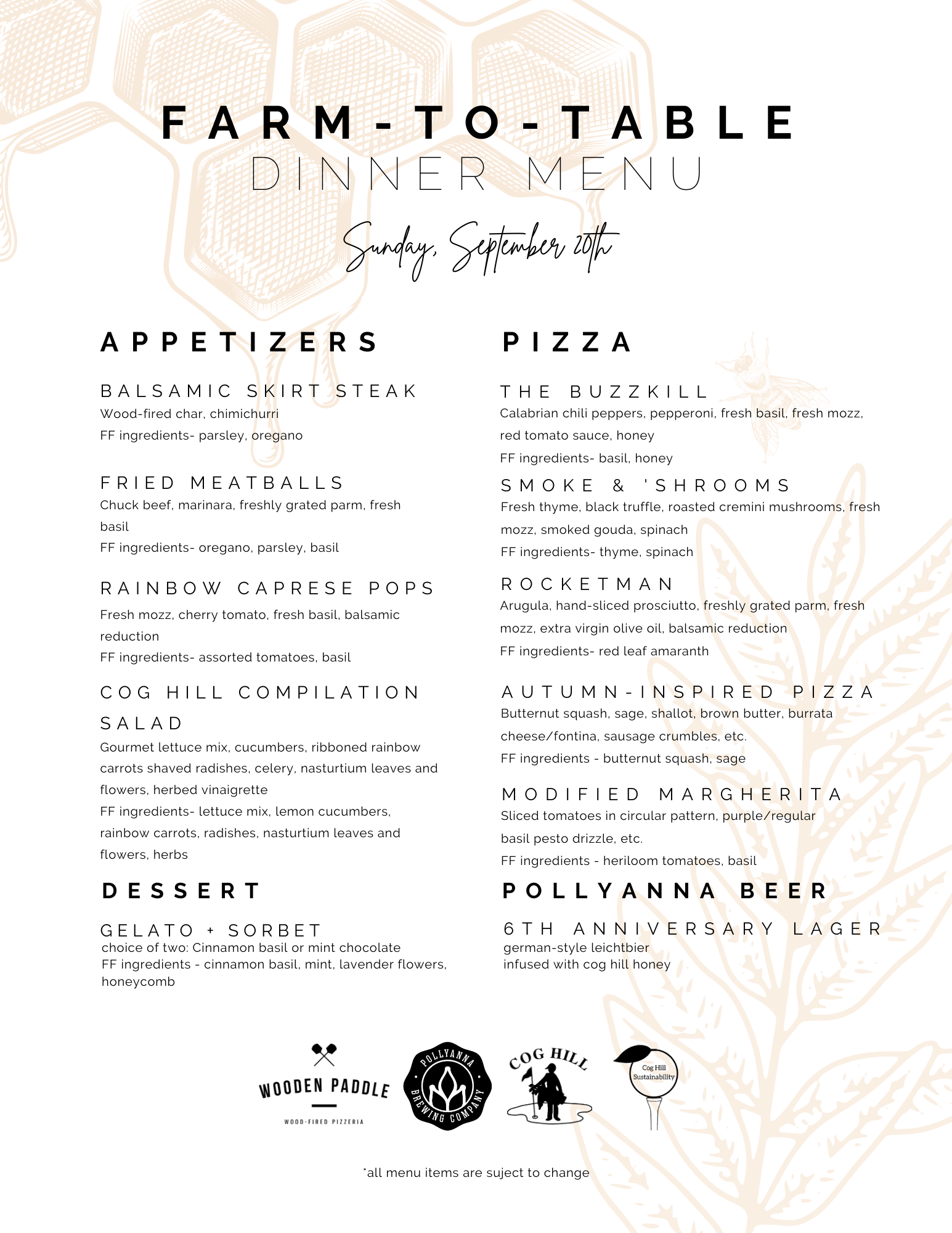 Menu for Cog Hill's Farm to Table dinner