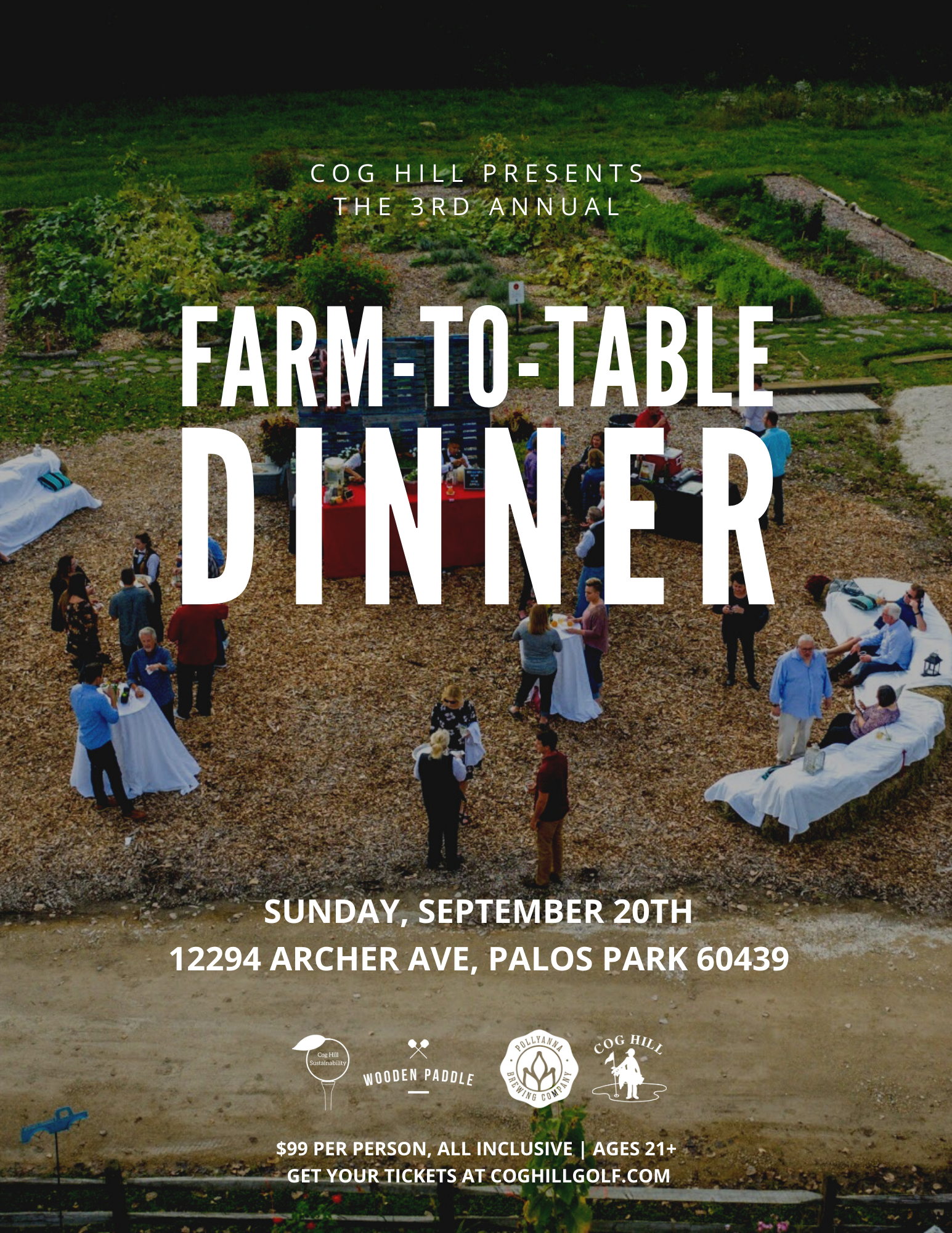 Farm to Table Dinner at Cog Hill graphic, featuring Pollyanna Brewing