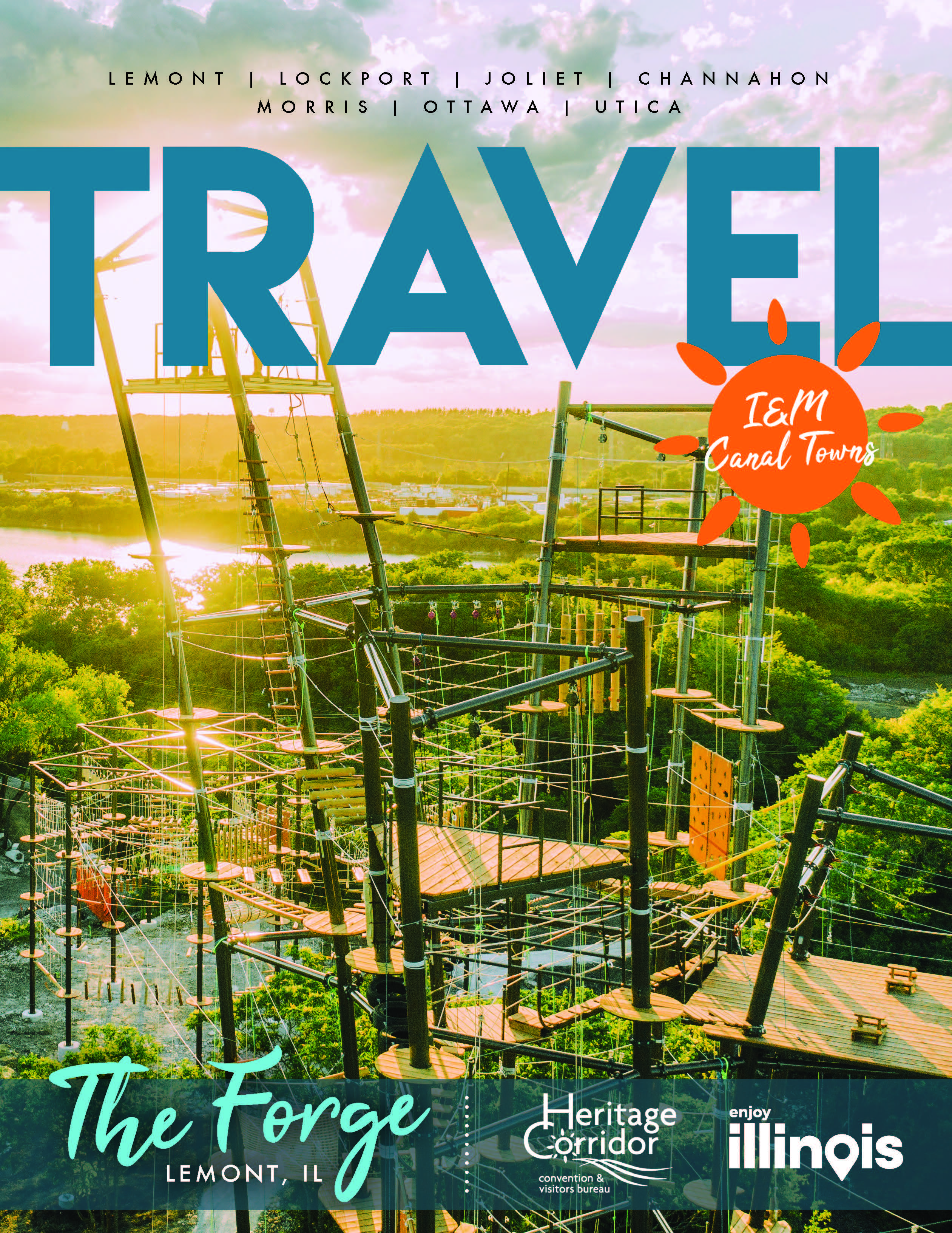 Cover of the 2021 Travel I&M Canal Towns Guide from the Heritage Corridor CVB