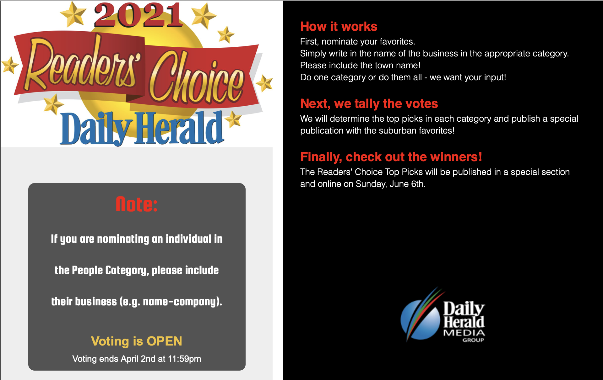 2021 Reader's Choice Daily Herald home page