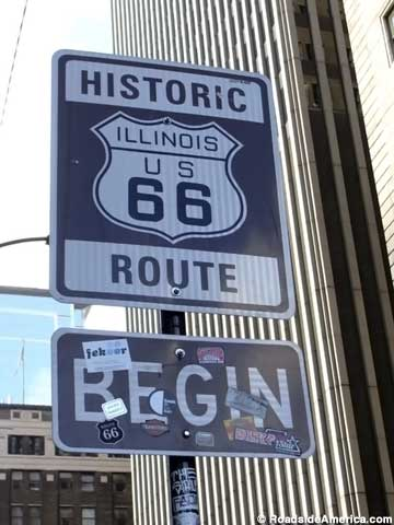 starting sign of Route 66