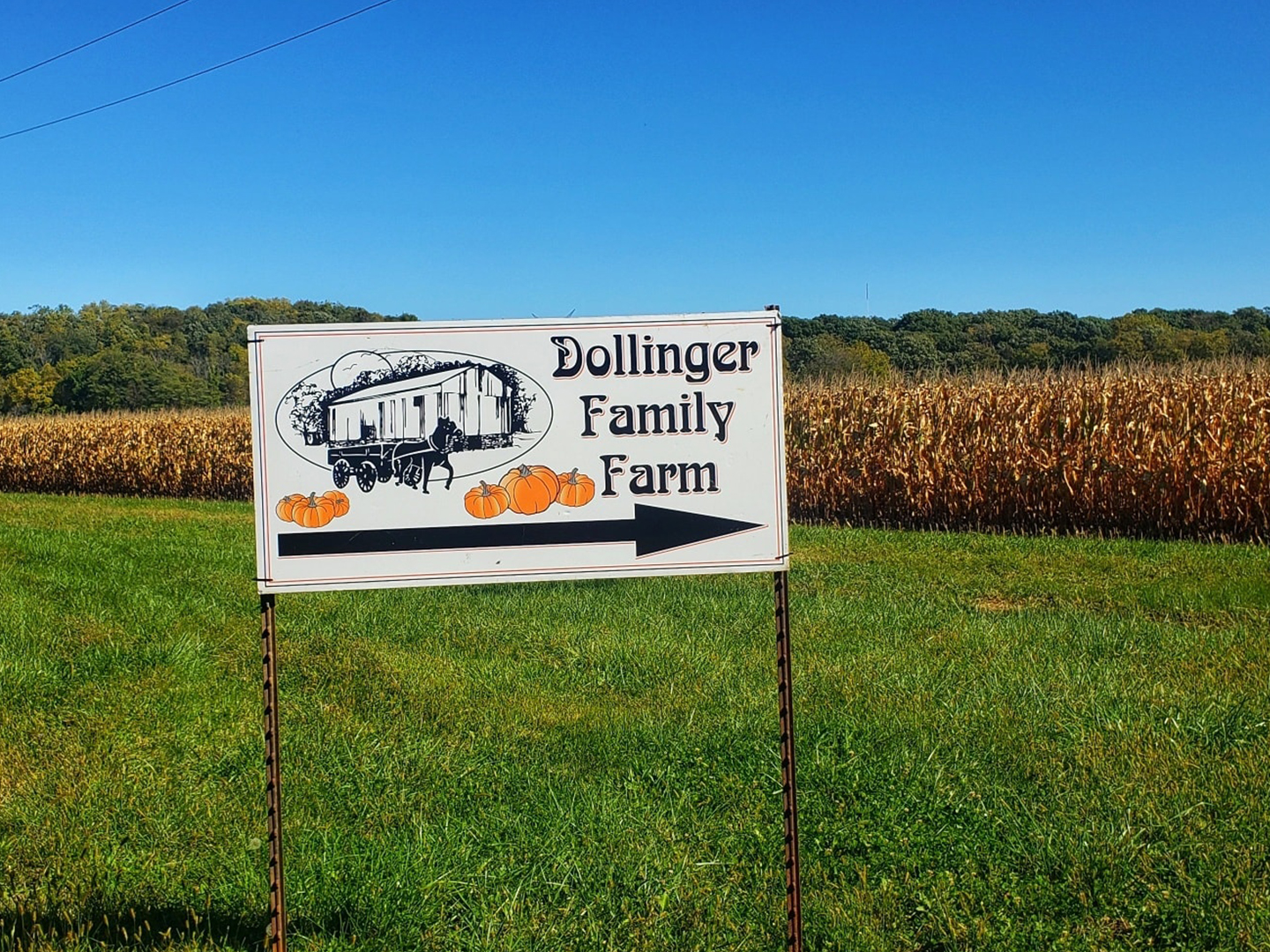 Welcome sign at dollinger farm with an arrowing pointing where to go