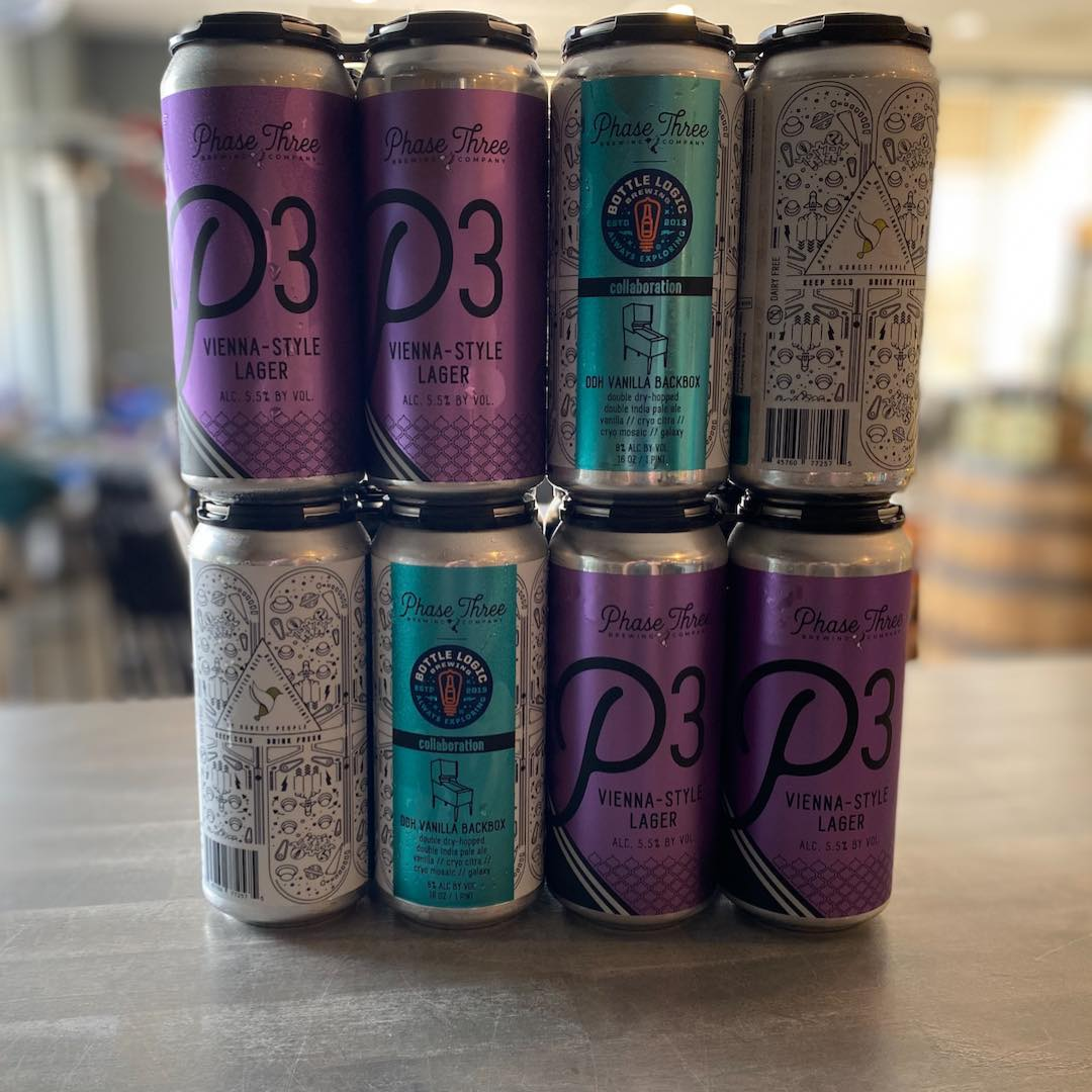 Cans from Phase Three Brewing