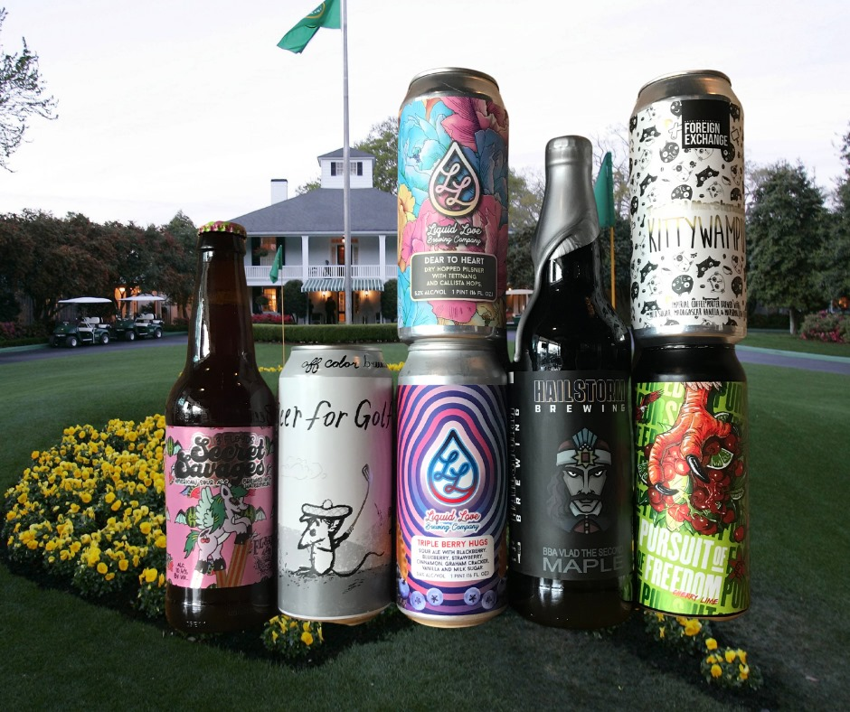 Several beers in front of the clubhouse in Augusta