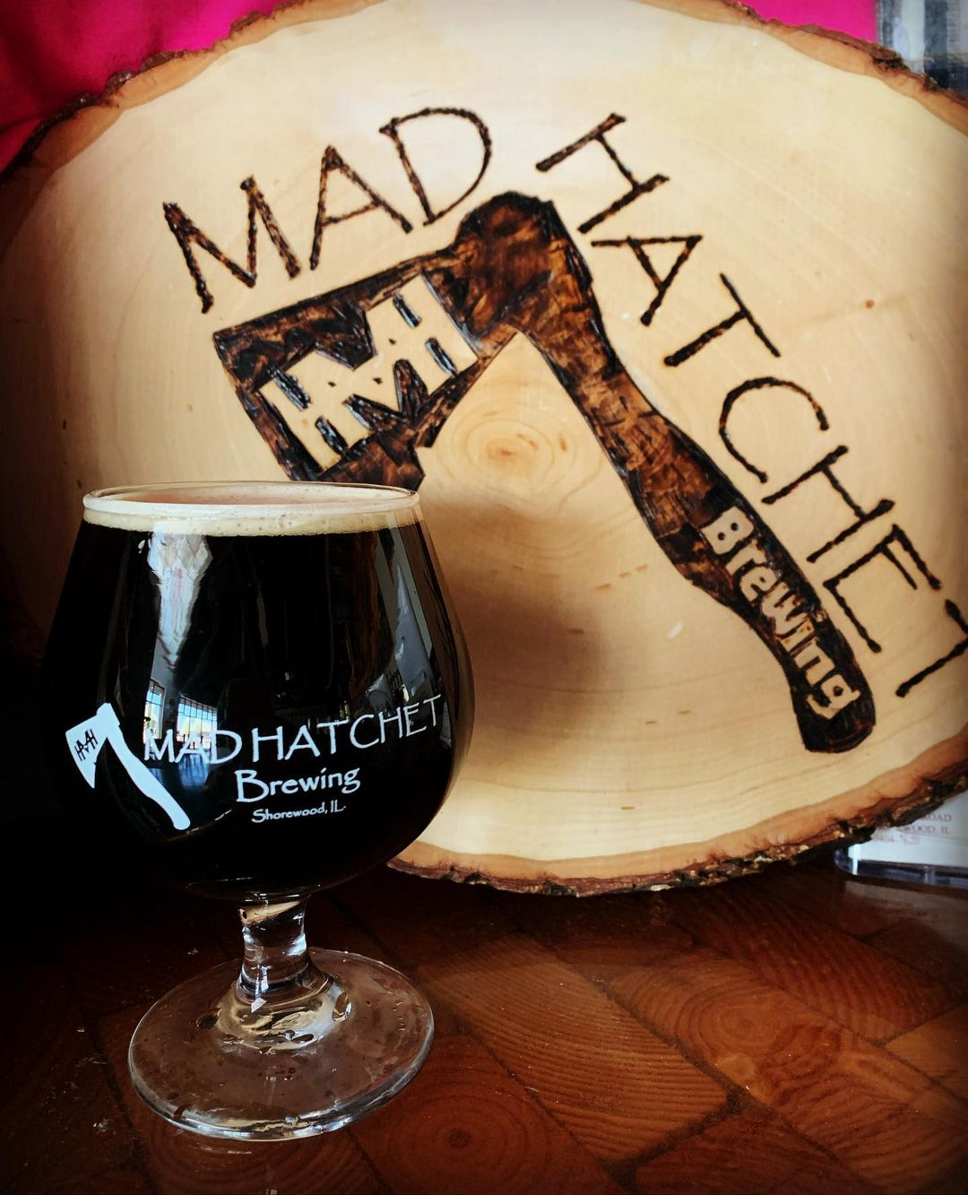 Glass of Mad Hatchet's Cinnister Stout