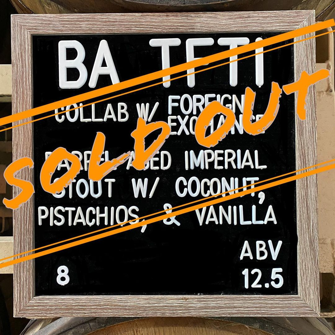 Beer board with SOLD OUT superimposed overtop