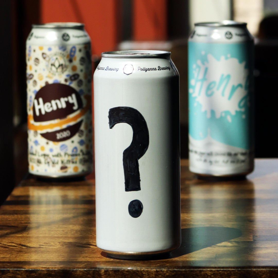 Cans of Henry, with this year's photoshopped with a big question mark