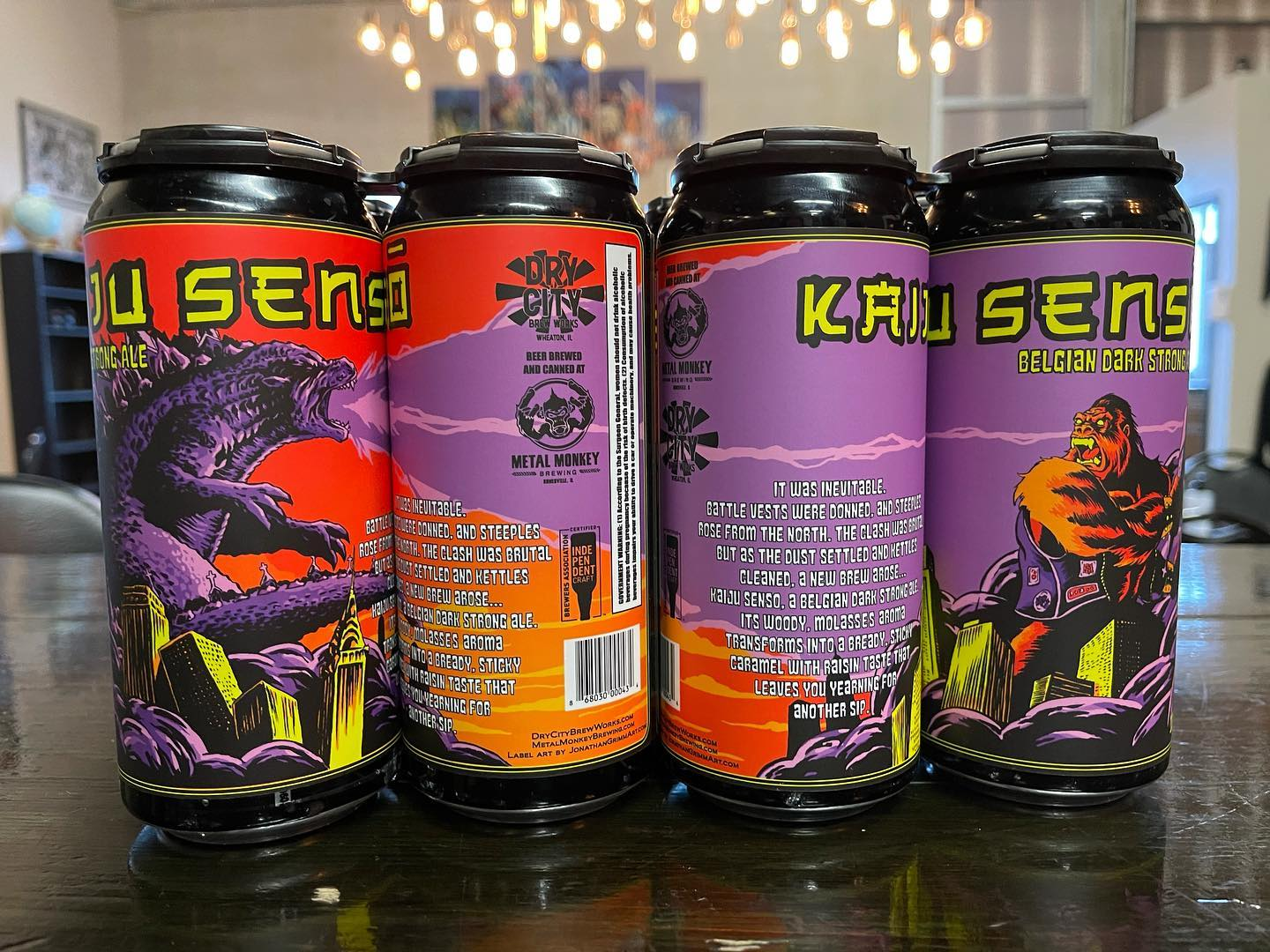 Cans of Kaiju Senso from Metal Monkey and Dry City Brewing