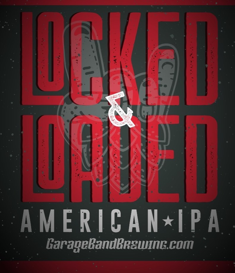 Logo for Locked and Loaded from Garage Band Brewing