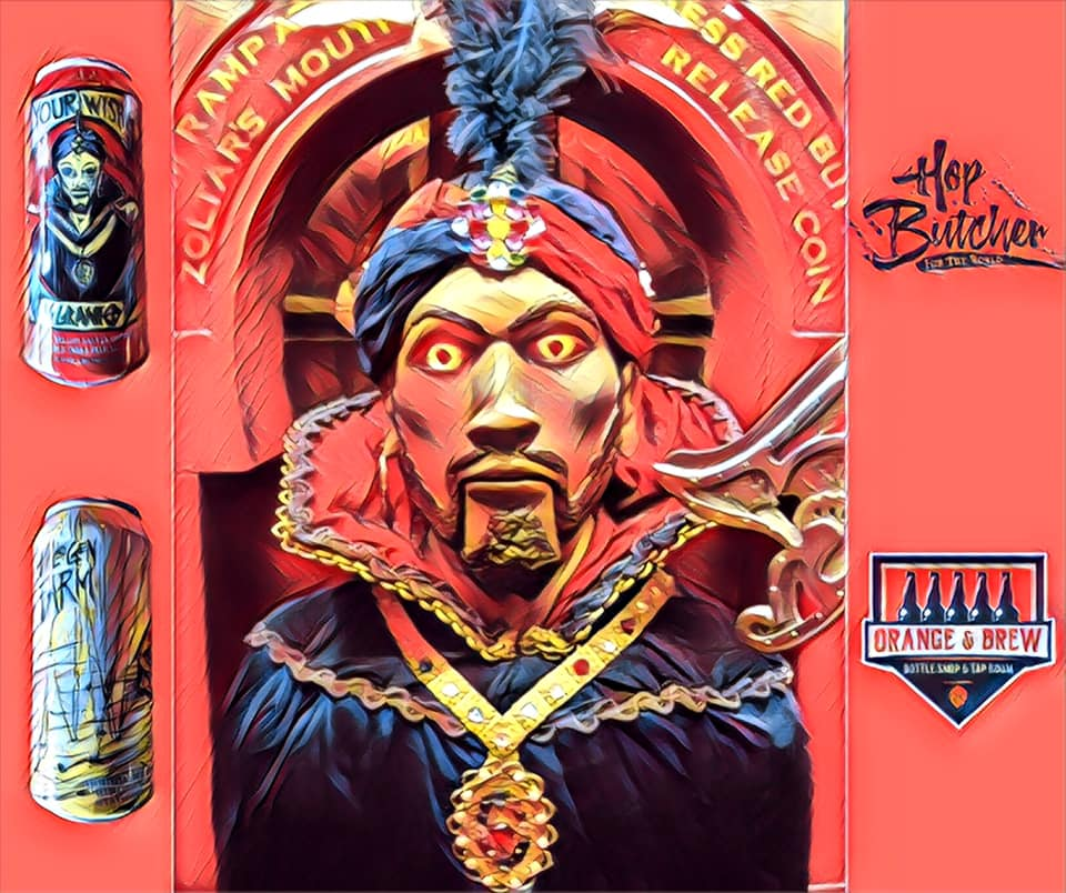 Graphic with Zoltar from BIG, two Hop Butcher for the World