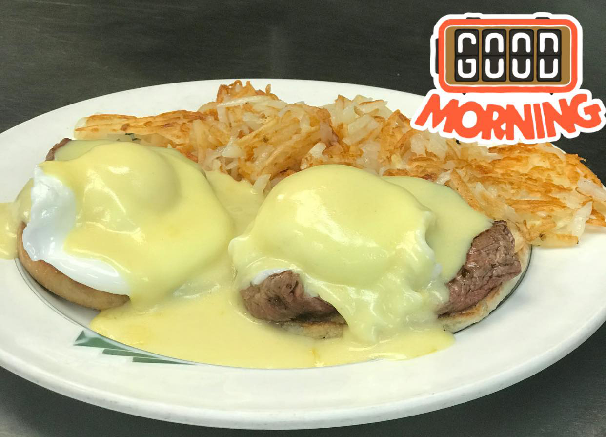 eggs Benedict with beef and hash browns on the side