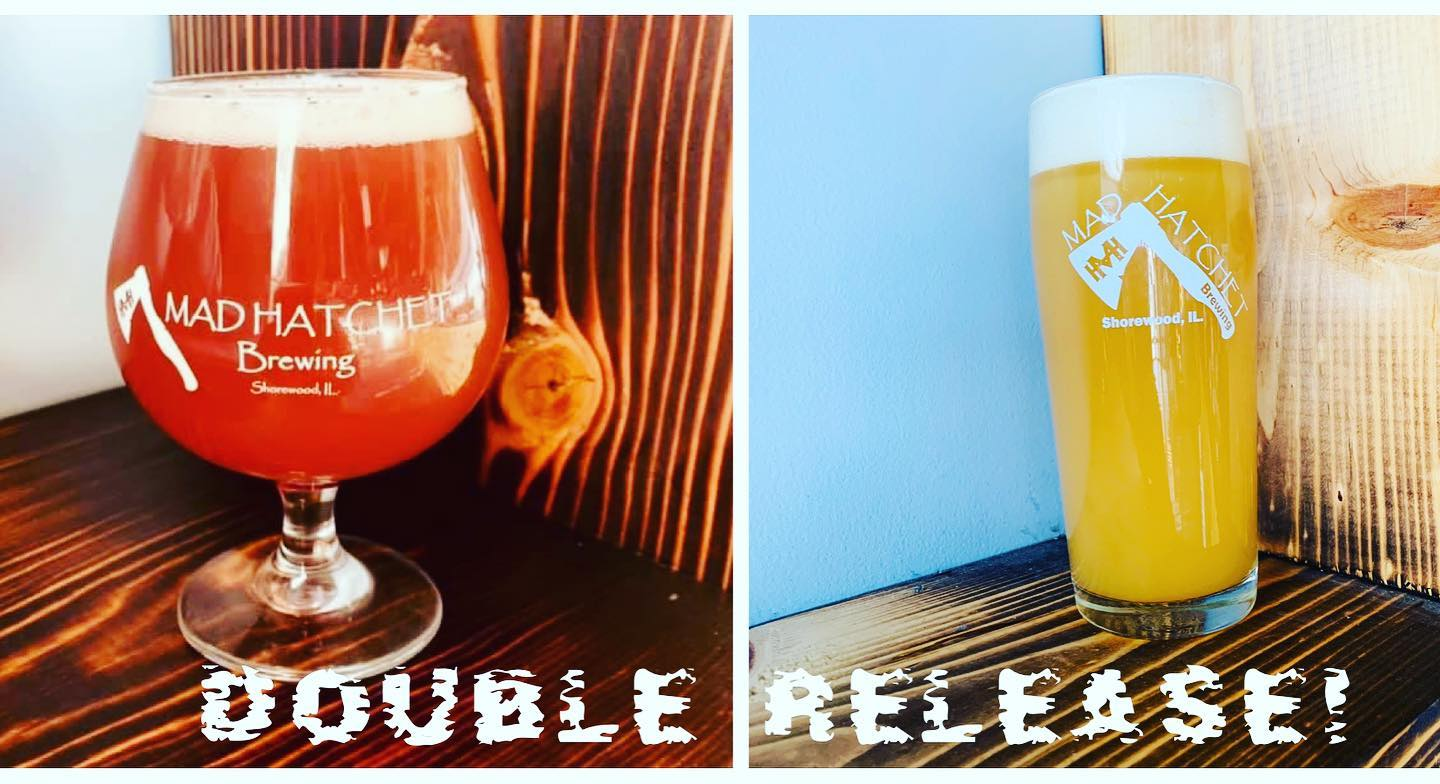 Two glasses of beer with text DOUBLE RELEASE from Mad Hatchet Brewery