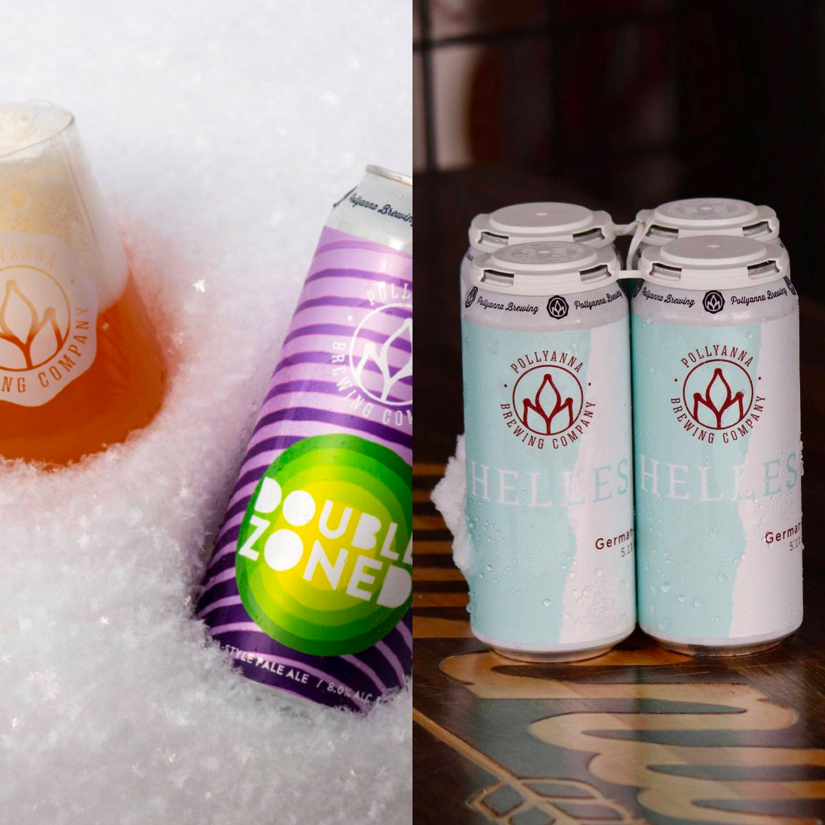 Left - glass and can of Double Zoned sitting in snow, right - four pack of Helles --- both from Pollyanna Brewing Company