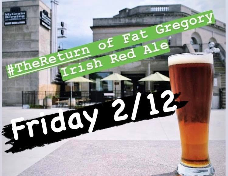 Fat Gregory Irish Red Ale glass in front of MyGrain Brewing's patio