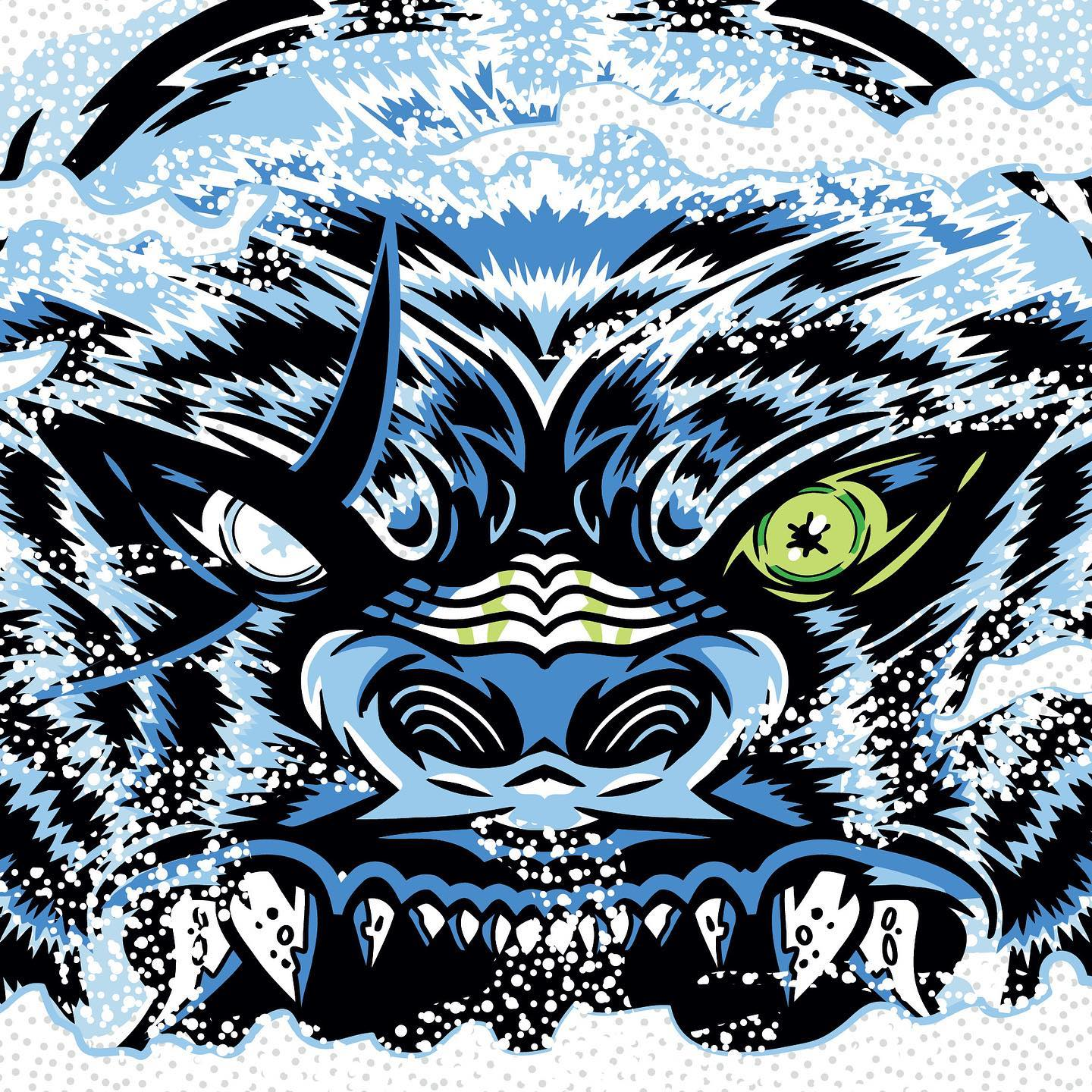 Graphic for an upcoming beer at Garage Band.  Looks like a the face of an angry blue dog.