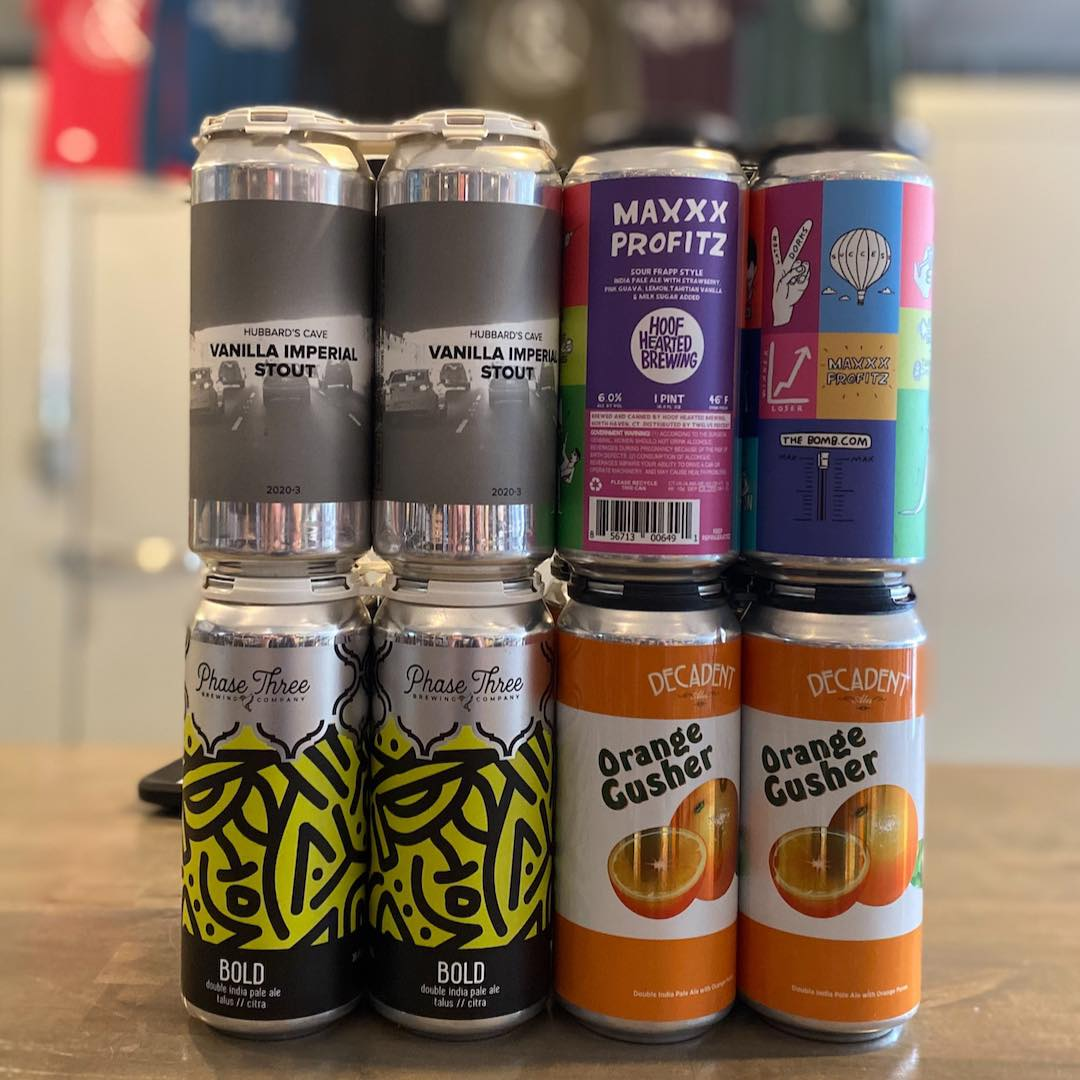 Cans from Hubbard's Cave, Hoof Hearted, Phase Three, and Decadent Ales at Iron&Glass Romeoville